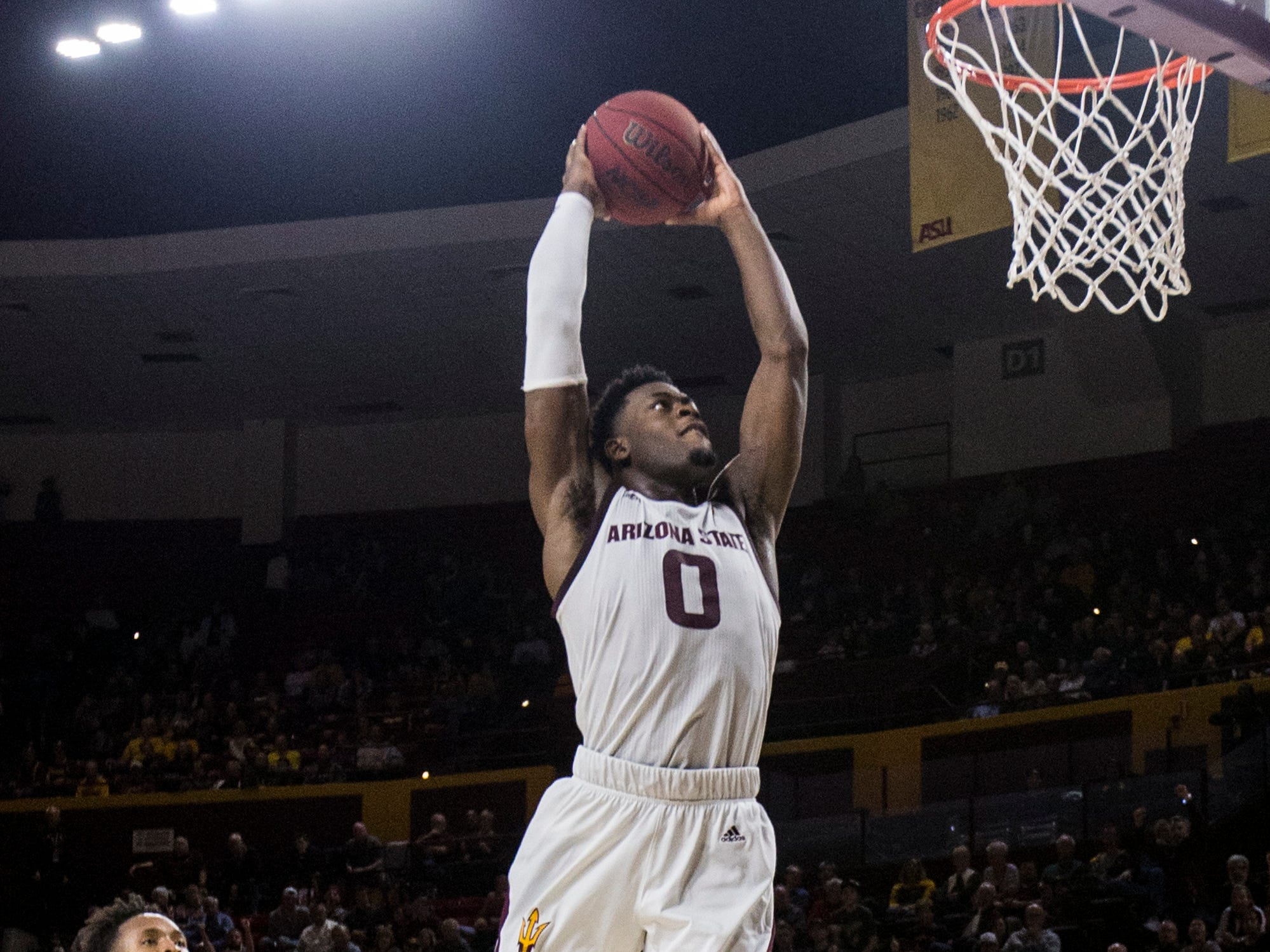 Arizona State's Luguentz Dort dunks against Texas Southern in the first half on Saturday, Dec. 1, 2018, at Wells Fargo Arena in Tempe, Ariz.