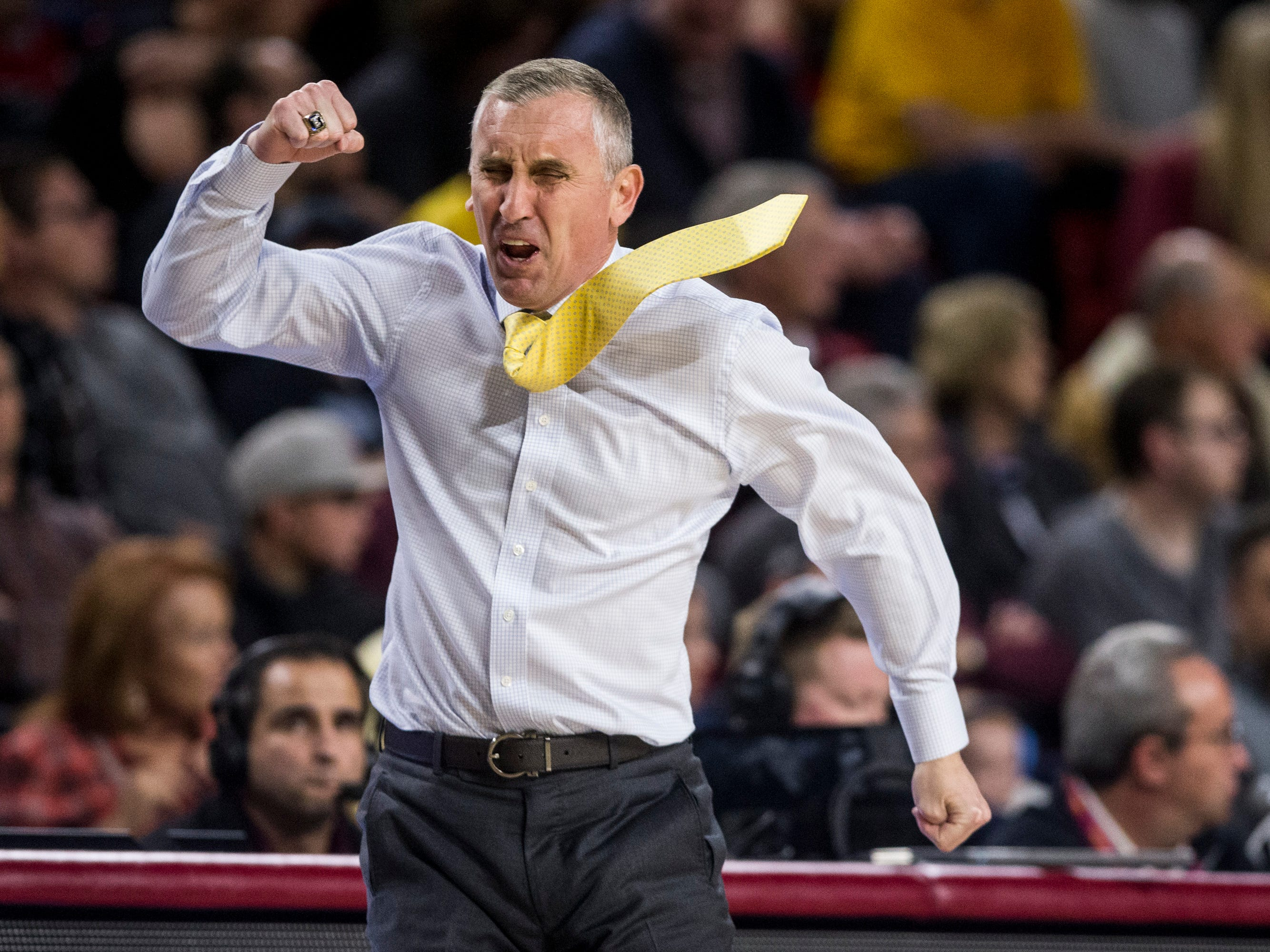 Arizona State head coach Bobby Hurley yells after a call in the second half against Texas Southern on Saturday, Dec. 1, 2018, at Wells Fargo Arena in Tempe, Ariz.