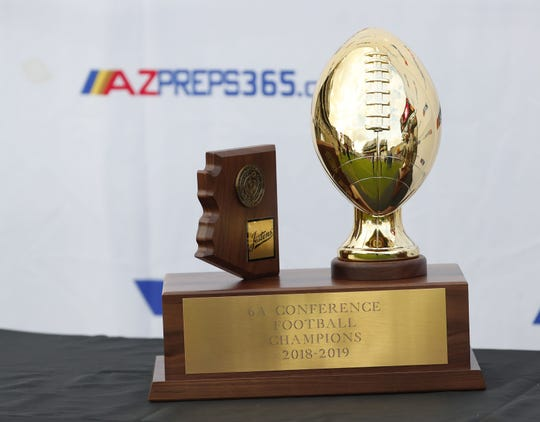 The 6A state football championship trophy at Sun Devil Stadium December 1, 2018. #azhsfb