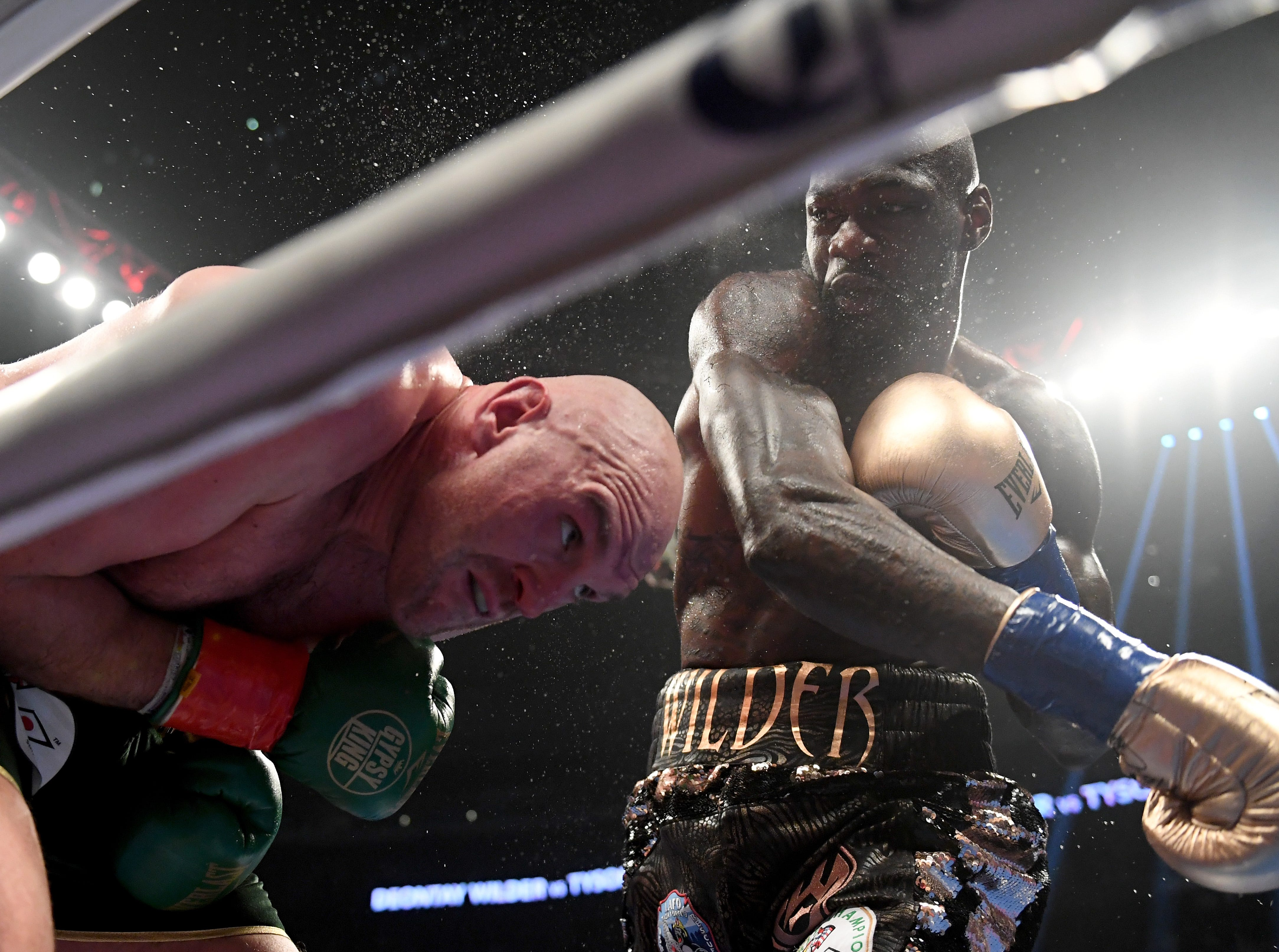 Deontay Wilder punches Tyson Fury in the fifth round of their Dec. 1 WBC heavyweight title fight at Staples Center.