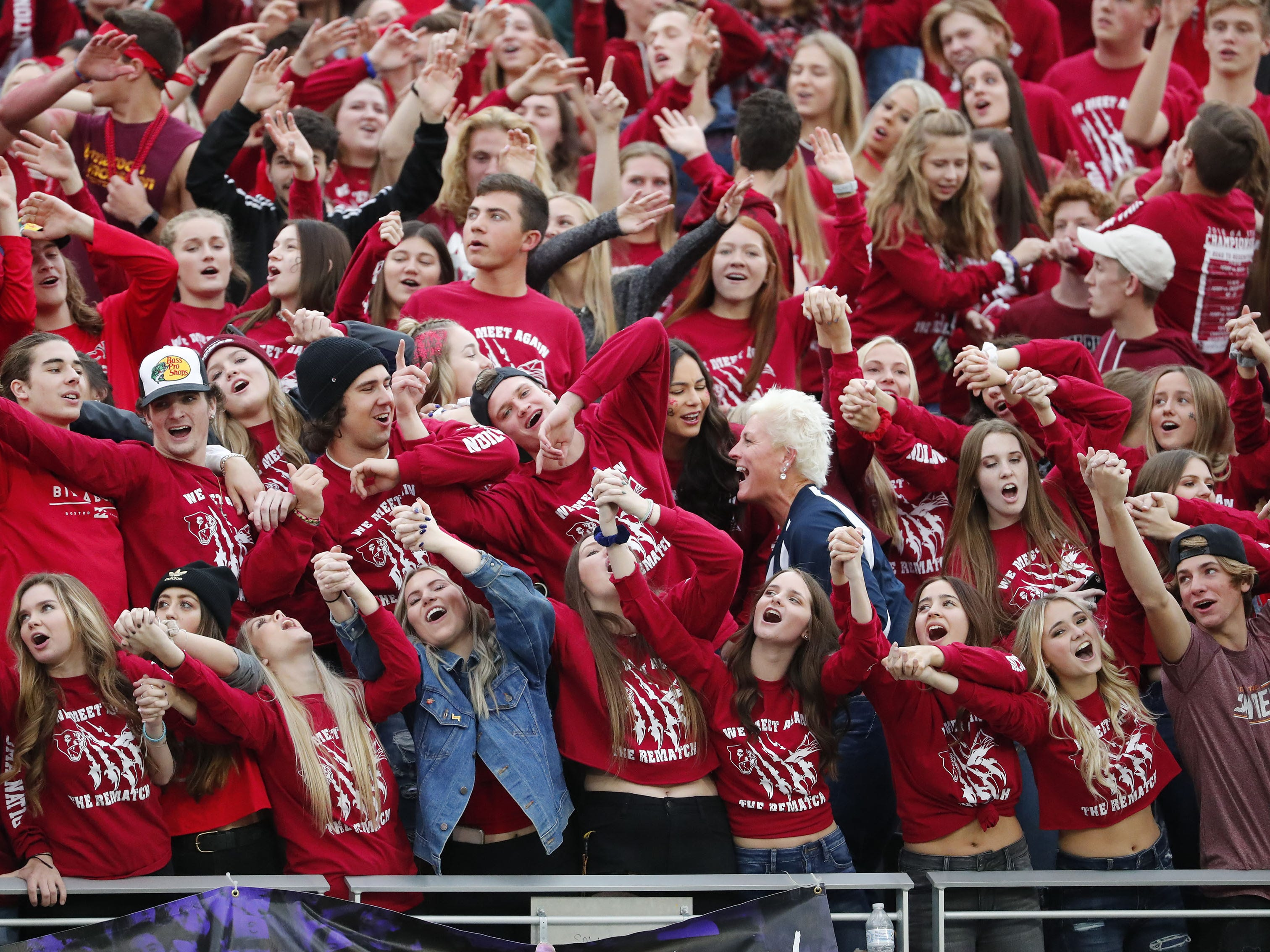 Perry students sing along during the 6A state football championship game against Chandler at Sun Devil Stadium December 1, 2018. #azhsfb