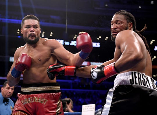 Joe Joyce knocks out Joe Hanks in the first round of a WBA Continental Heavyweight bout at Staples Center.