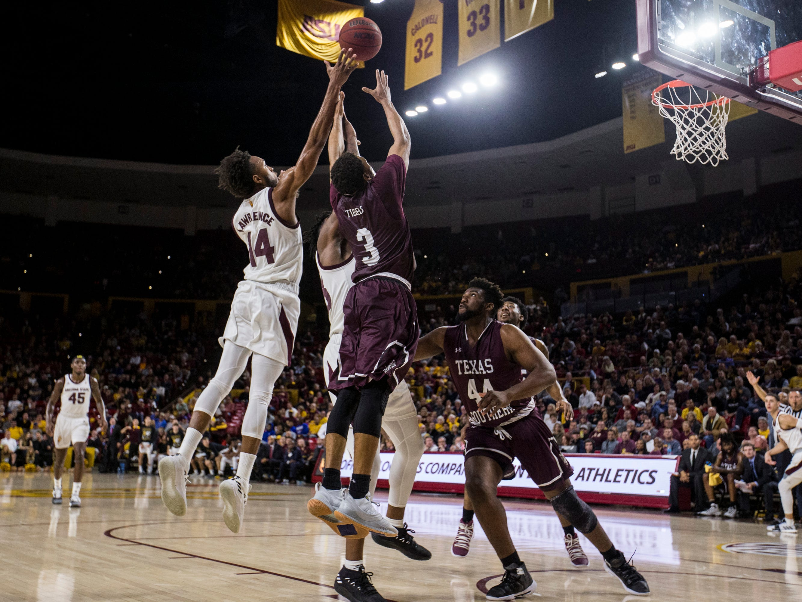 Arizona State's Kimani Lawrence goes up for a rebound against Texas Southern in the first half on Saturday, Dec. 1, 2018, at Wells Fargo Arena in Tempe, Ariz.