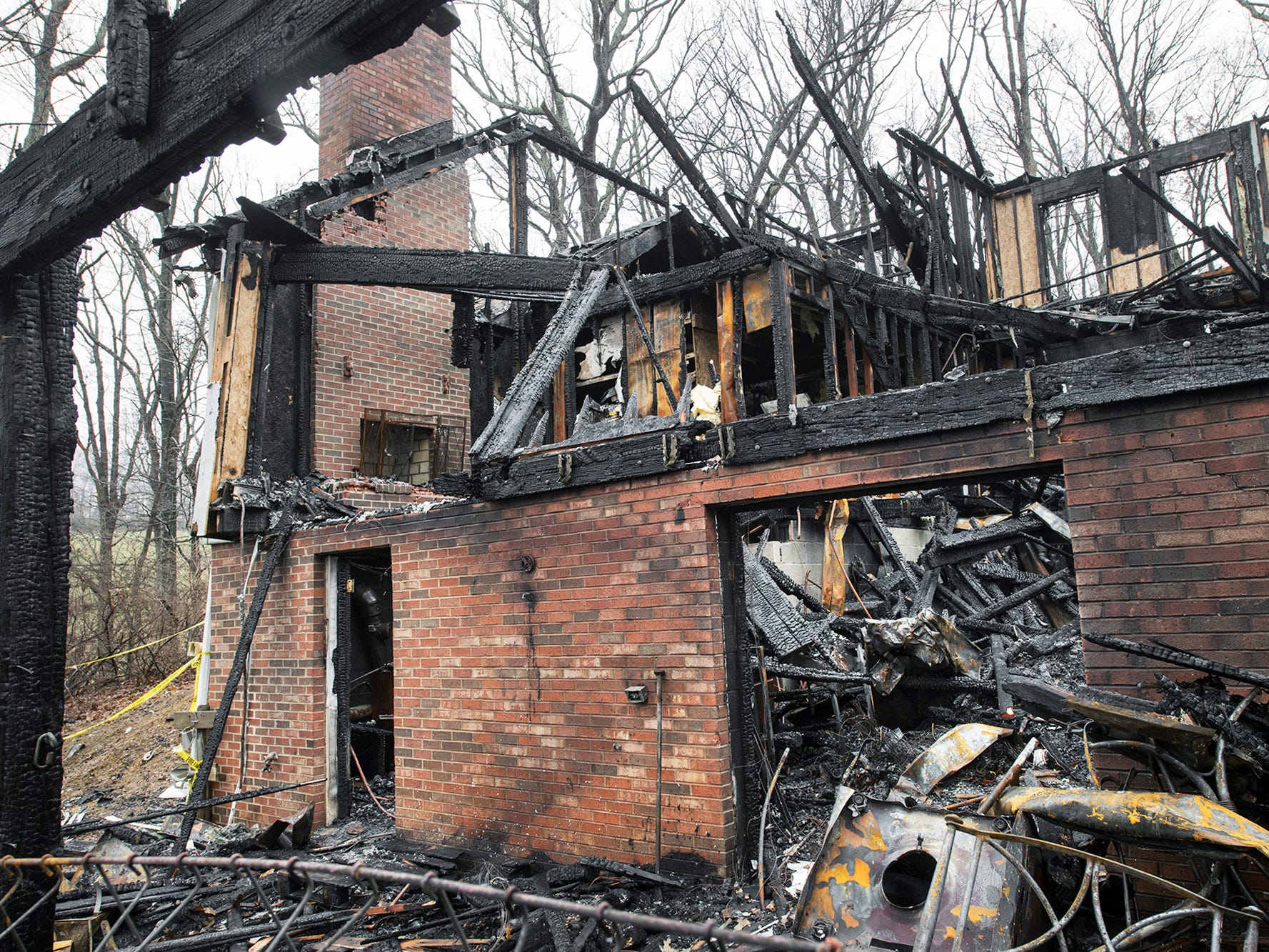 The fireplace on the second floor is still standing on Sunday December 2, 2018. The fire began when a log popped in the fireplace ignighting drapes and carpet on the second floor.