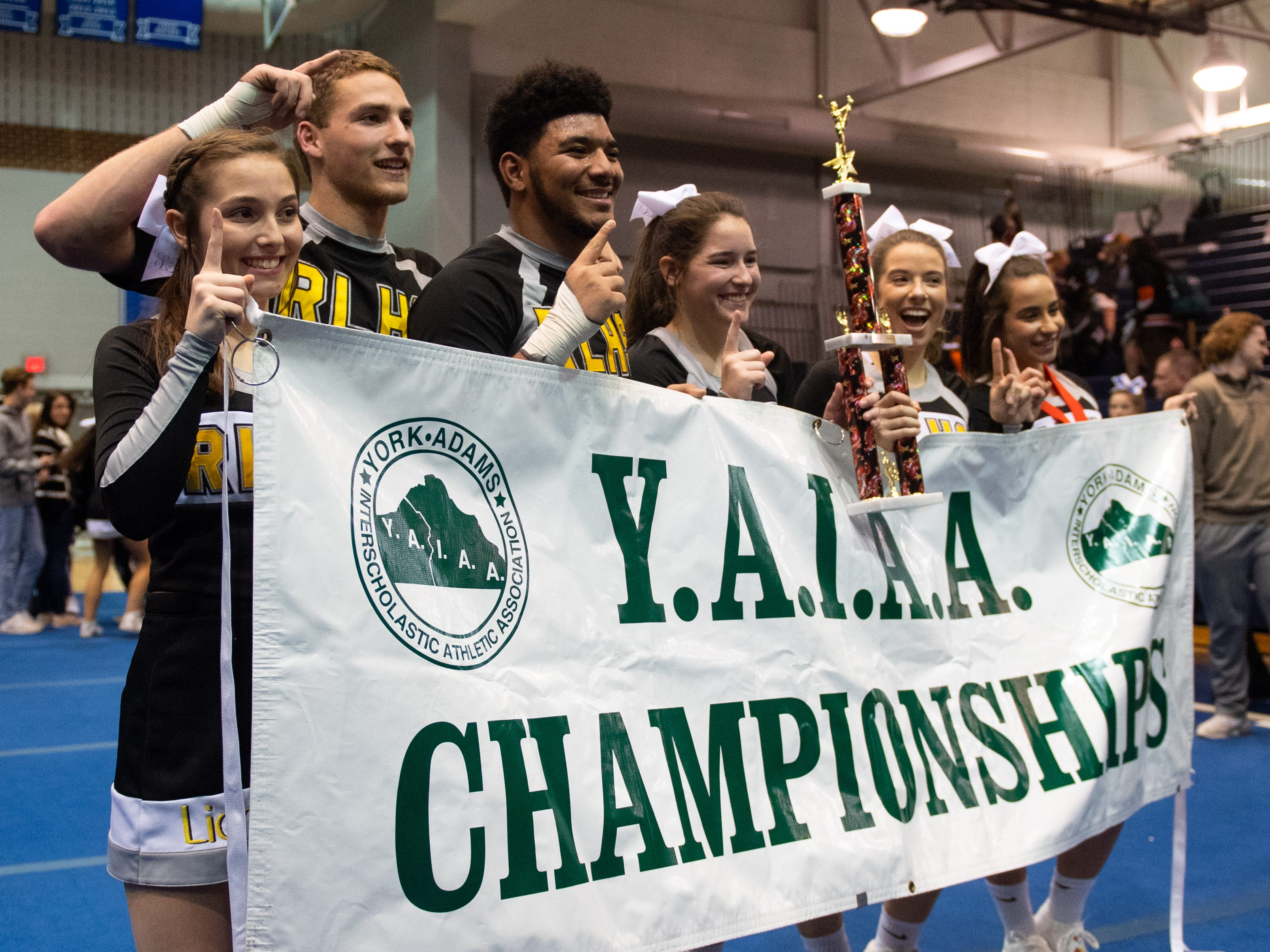 Red Lion's team are the YAIAA competitive spirit champions, Saturday, December 1, 2018. The Lions won the coed division, Saturday, December 1, 2018. Dover won the small-varsity division.