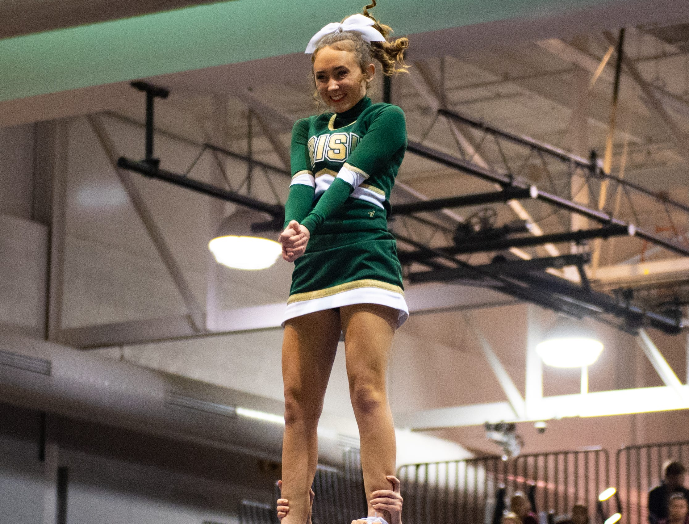 York Catholic performs their routine during the YAIAA competitive spirit championships at Dallastown High School, Saturday, December 1, 2018. Dover won the small-varsity division and Red Lion won the coed division.