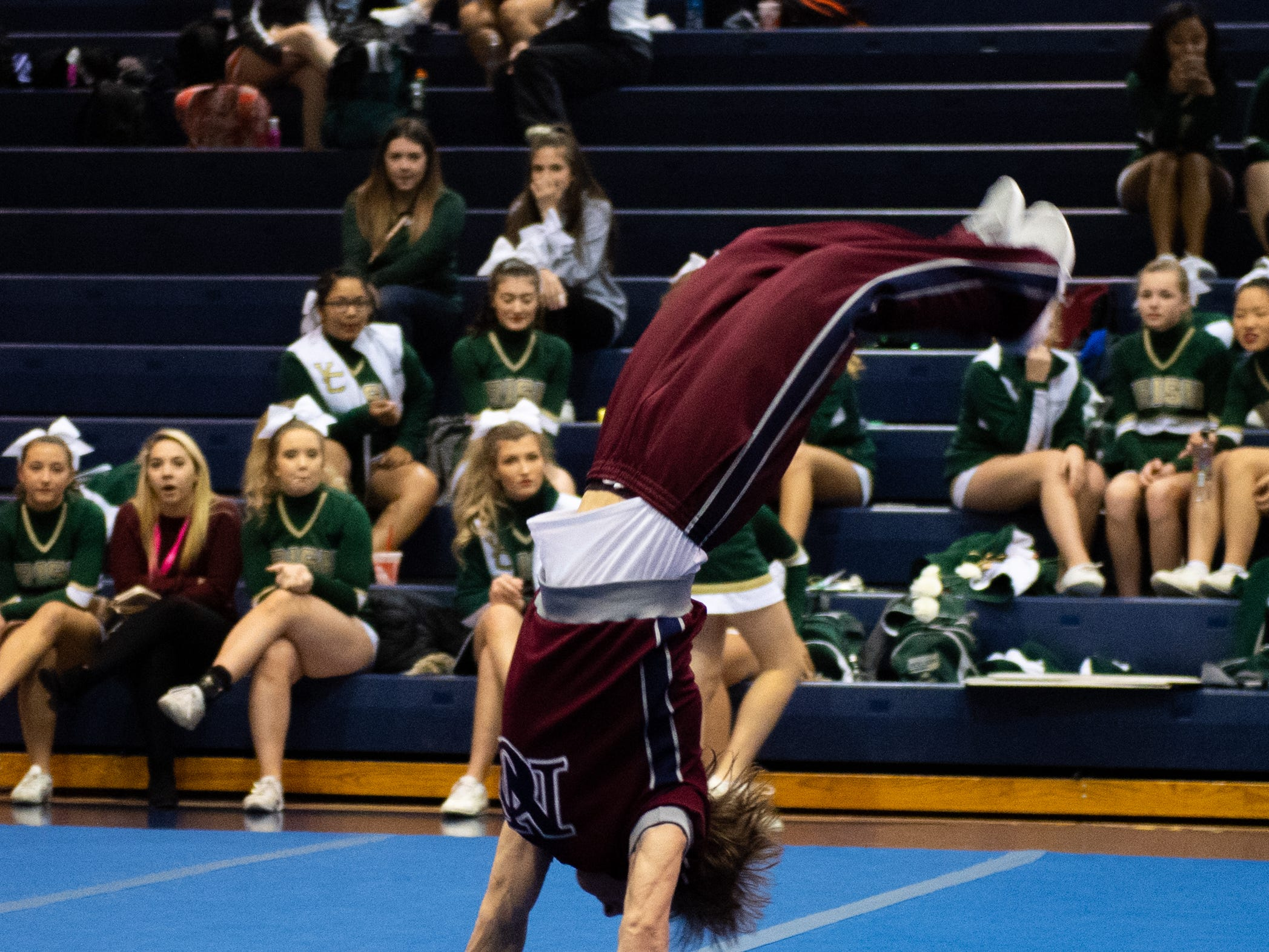 New Oxford competes in the tumble competition during the YAIAA competitive spirit championships at Dallastown High School, Saturday, December 1, 2018. Dover won the small-varsity division and Red Lion won the coed division.