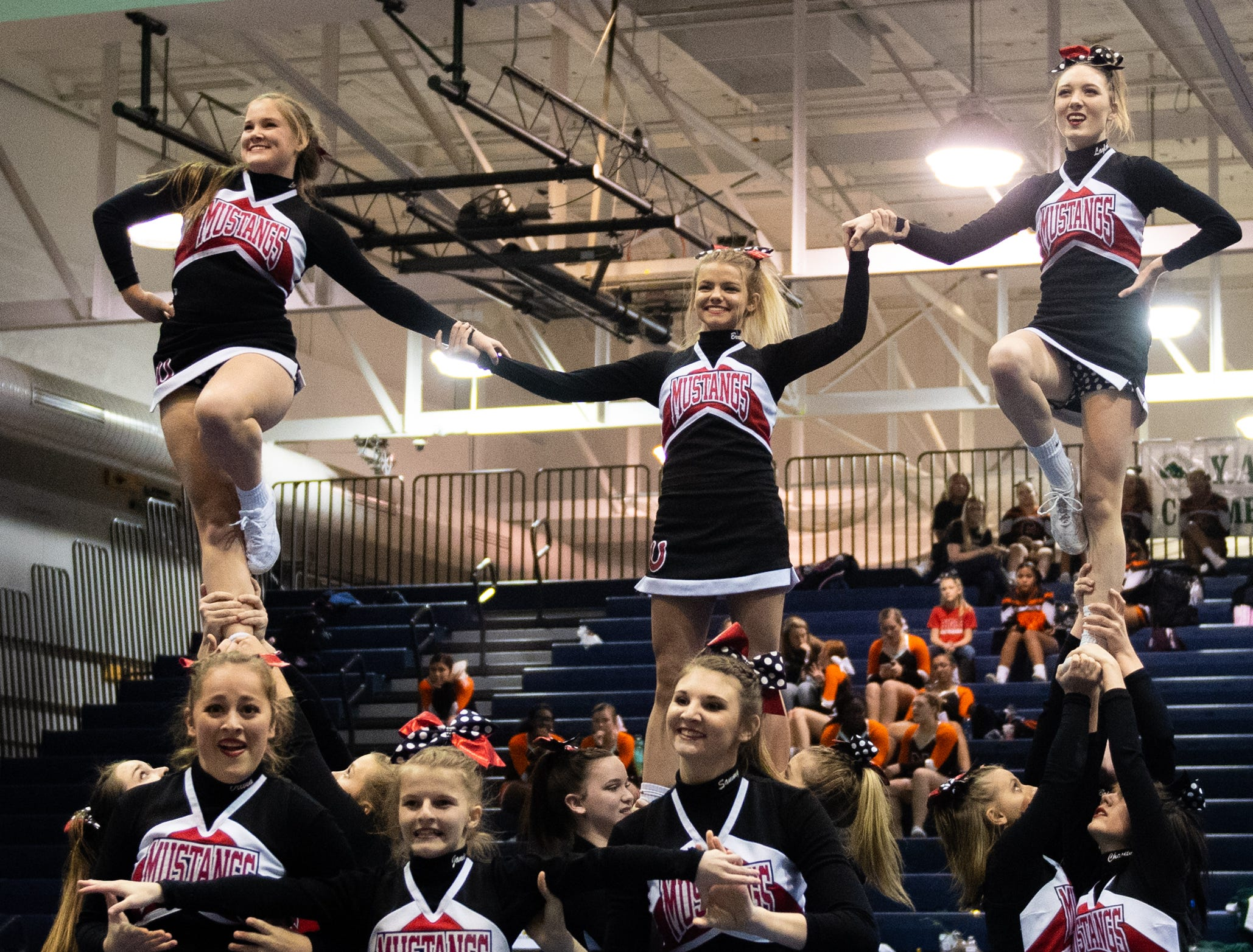 Southwestern performs their routine during the YAIAA competitive spirit championships at Dallastown High School, Saturday, December 1, 2018. Dover won the small-varsity division and Red Lion won the coed division.