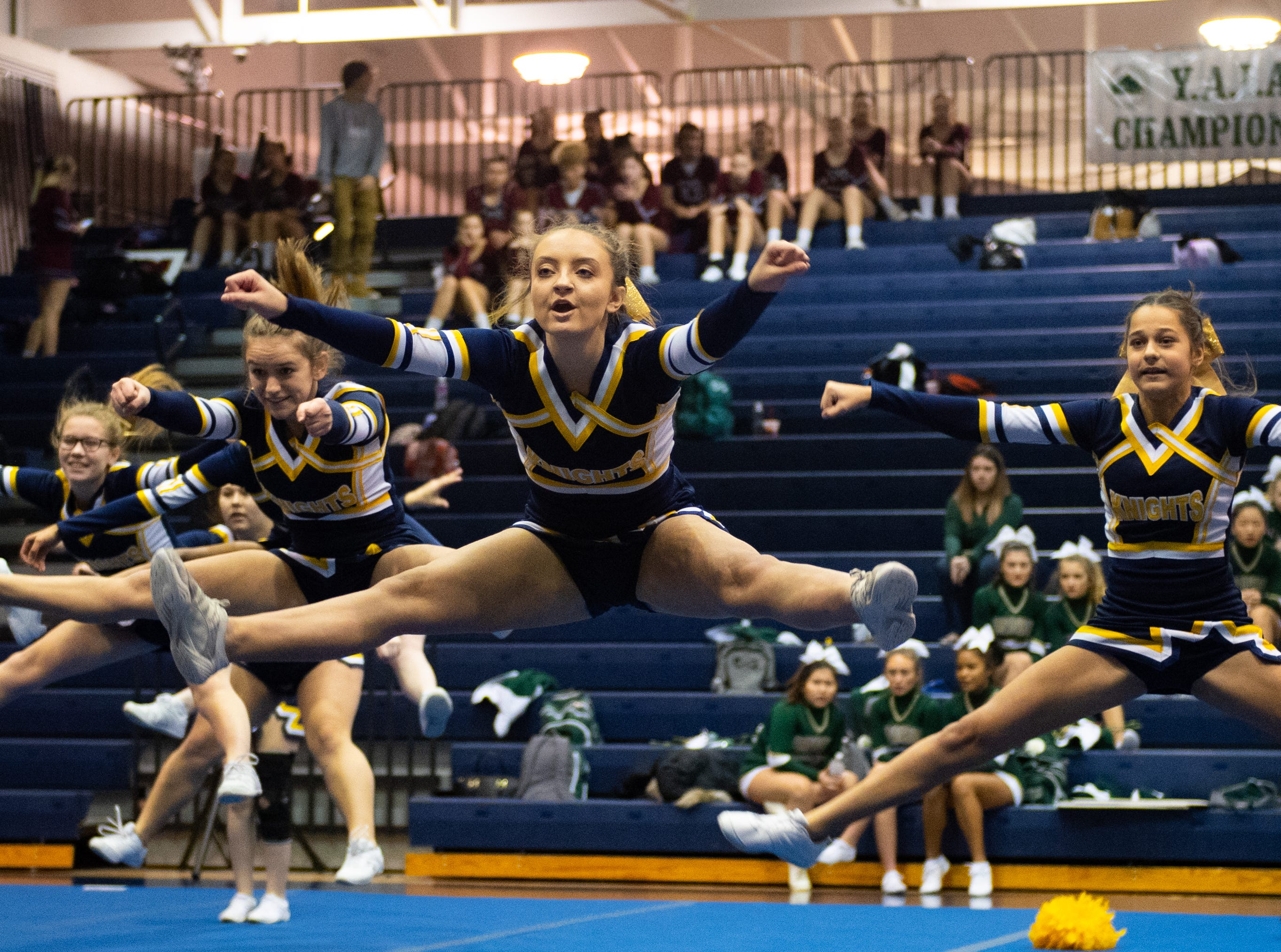 Eastern York performs their routine during the YAIAA competitive spirit championships at Dallastown High School, Saturday, December 1, 2018. Dover won the small-varsity division and Red Lion won the coed division.