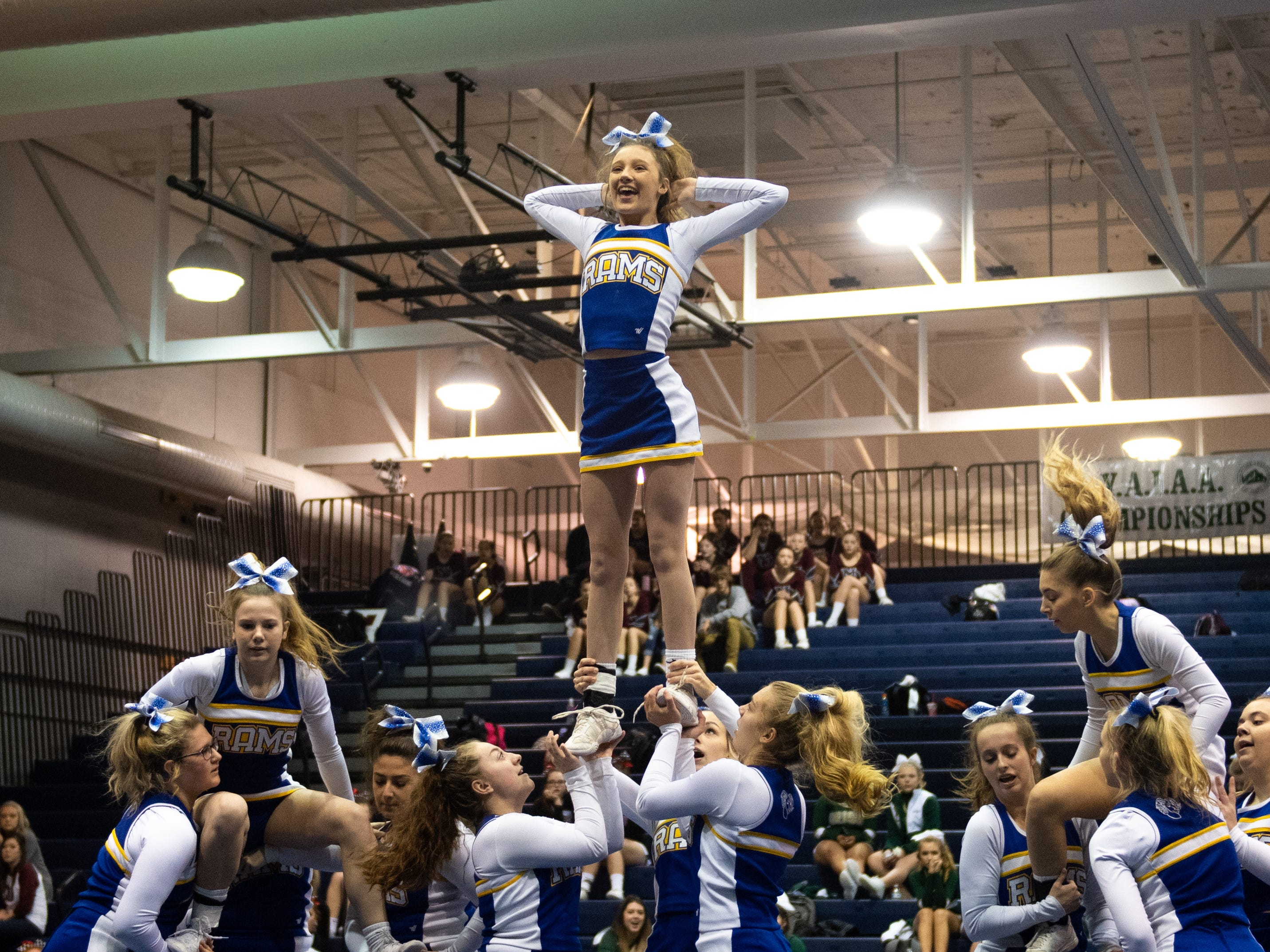 Kennard-Dale performs their routine during the YAIAA competitive spirit championships at Dallastown High School, Saturday, December 1, 2018. Dover won the small-varsity division and Red Lion won the coed division.