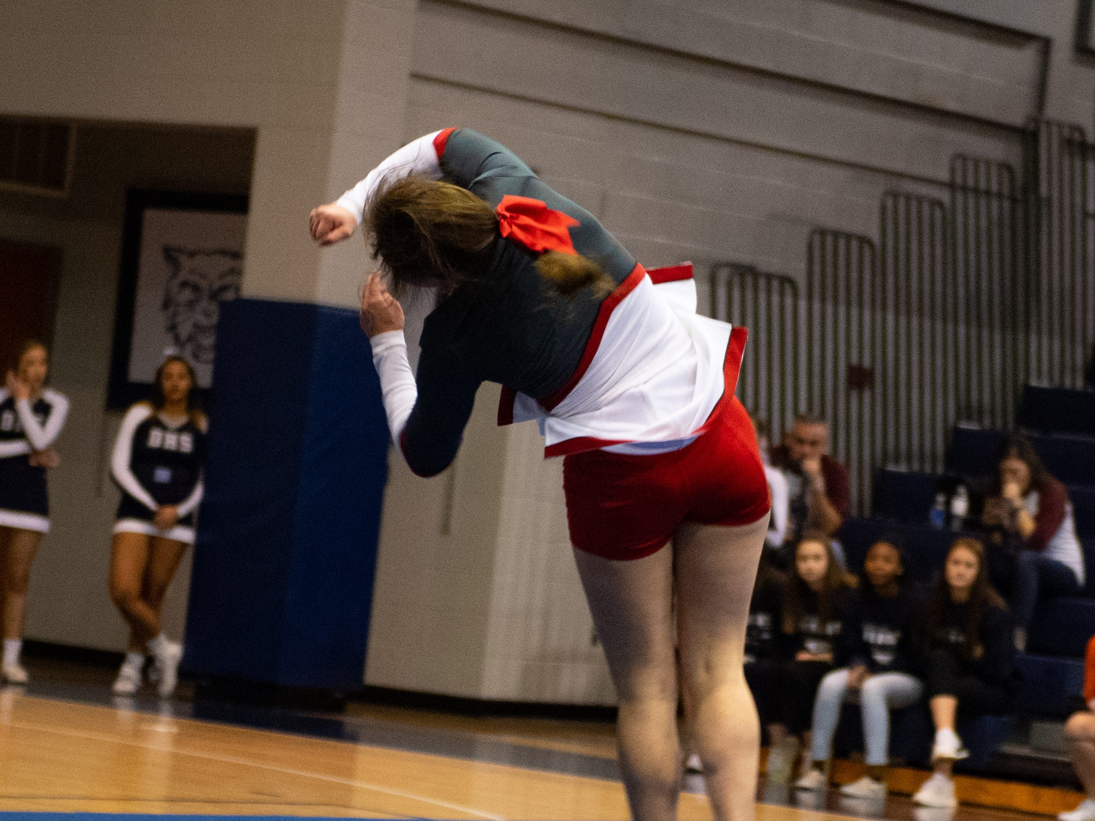 Dover competes in the tumble competition during the YAIAA competitive spirit championships at Dallastown High School, Saturday, December 1, 2018. Dover won the small-varsity division and Red Lion won the coed division.