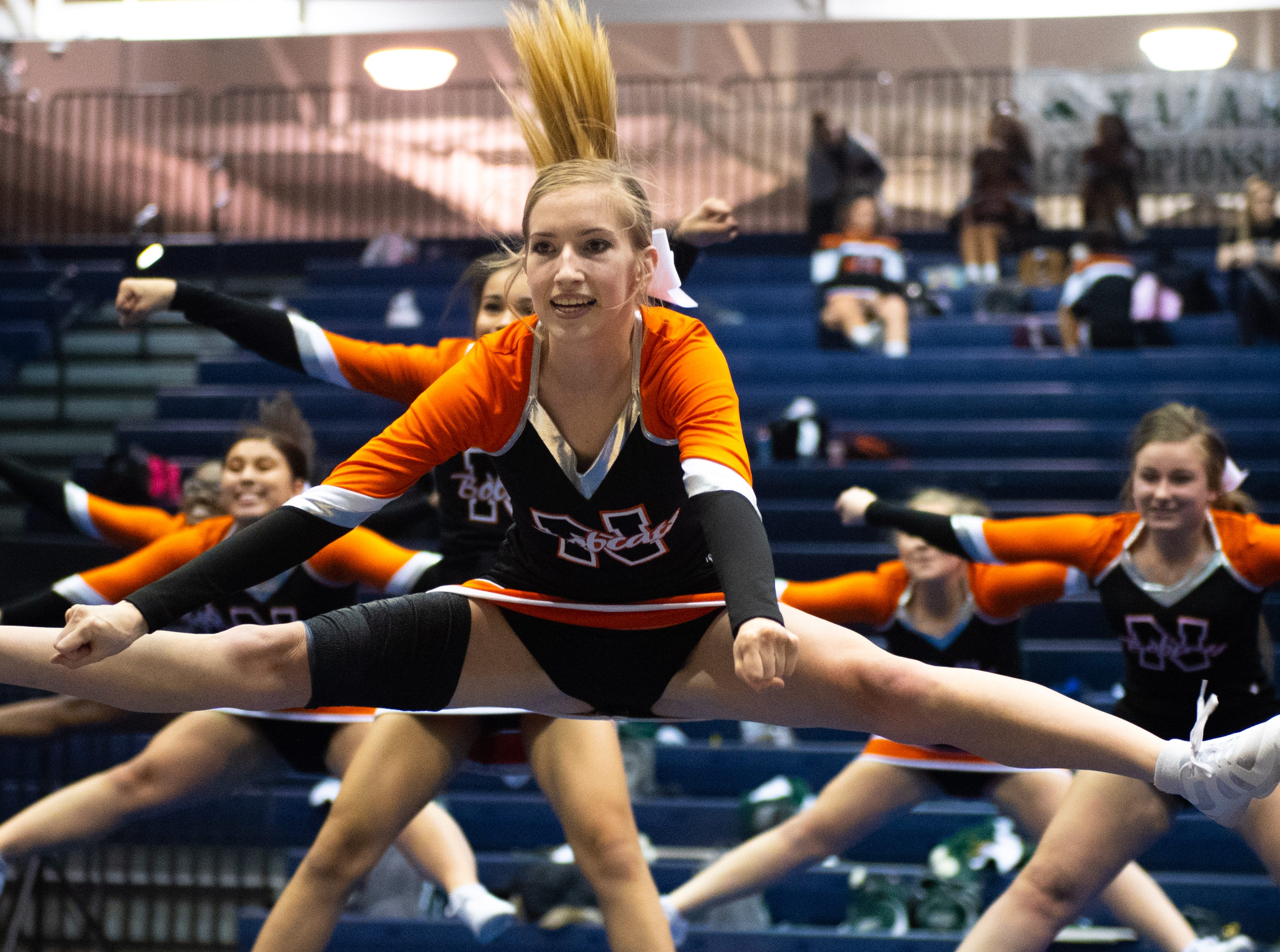 Northeastern performs their routine during the YAIAA competitive spirit championships at Dallastown High School, Saturday, December 1, 2018. Dover won the small-varsity division and Red Lion won the coed division.