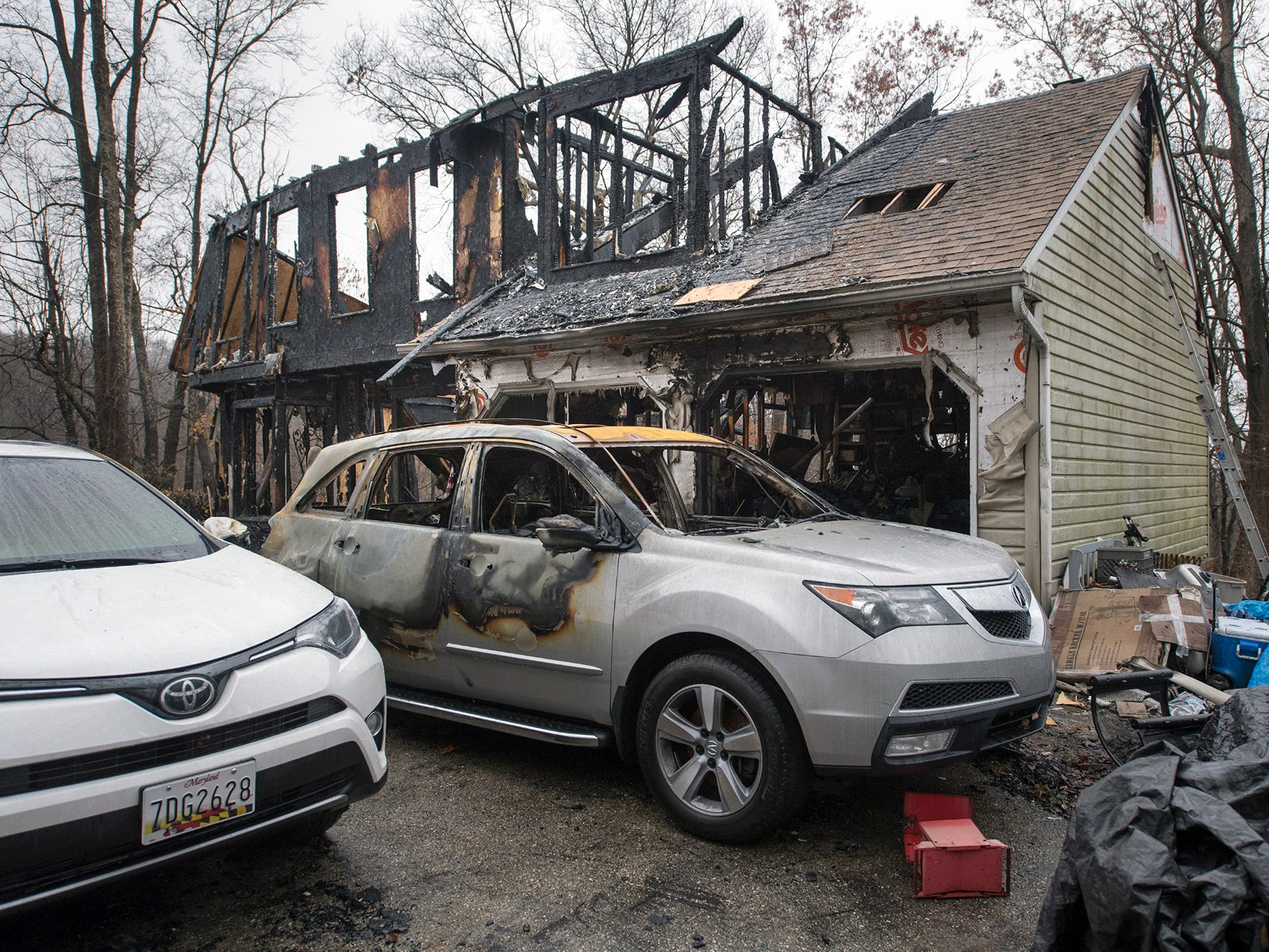 Two vehicles, one belonging to Michelle Herren and one Melissa Herren was renting after her car had sustained $6,000 damage from a deer strike, were destroyed during the Shrewsbury Township fire.