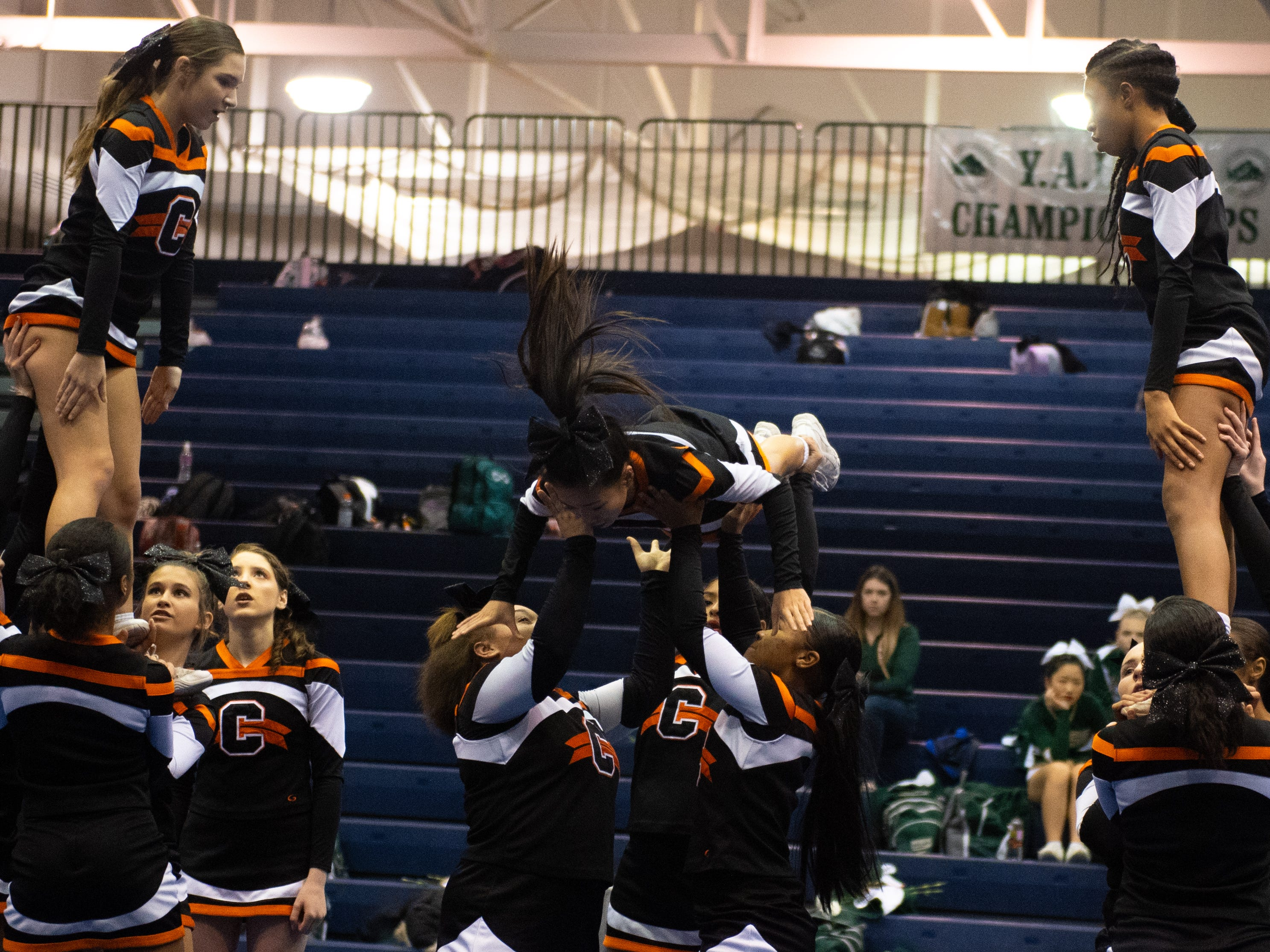 Central York performs their routine during the YAIAA competitive spirit championships at Dallastown High School, Saturday, December 1, 2018. Dover won the small-varsity division and Red Lion won the coed division