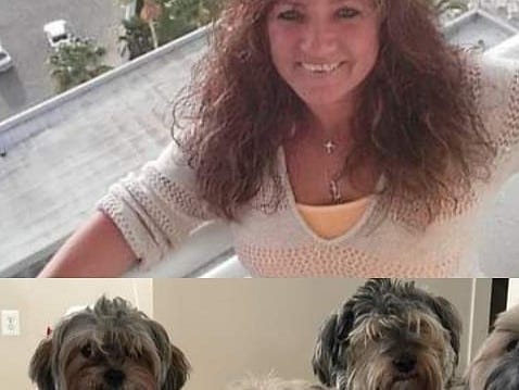 Melissa Herren with three of her dogs before the fire. Of her six Shorkichon dogs, four were lost in the fire.