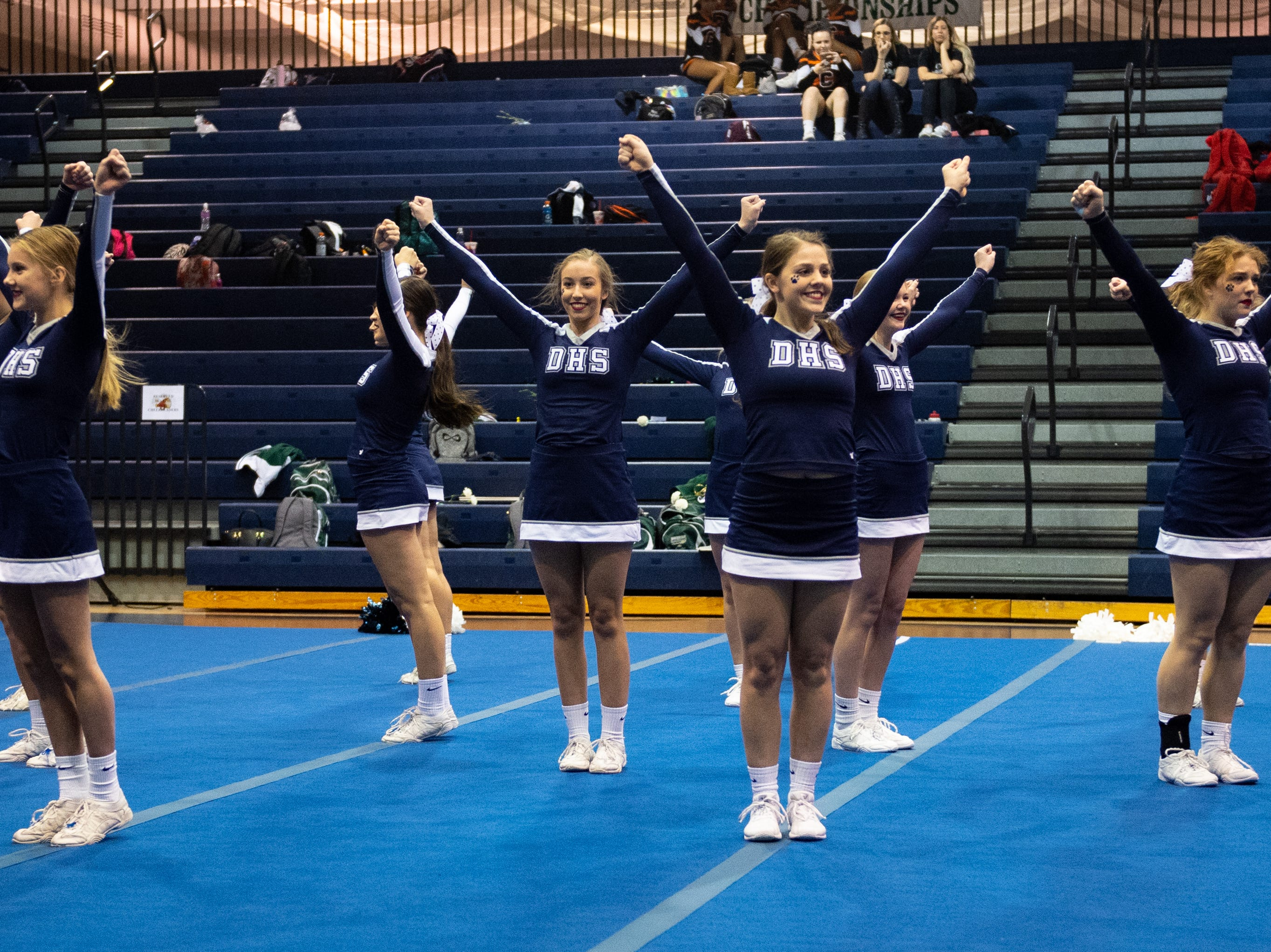 Dallastown performs their routine during the YAIAA competitive spirit championships at Dallastown High School, Saturday, December 1, 2018. Dover won the small-varsity division and Red Lion won the coed division.