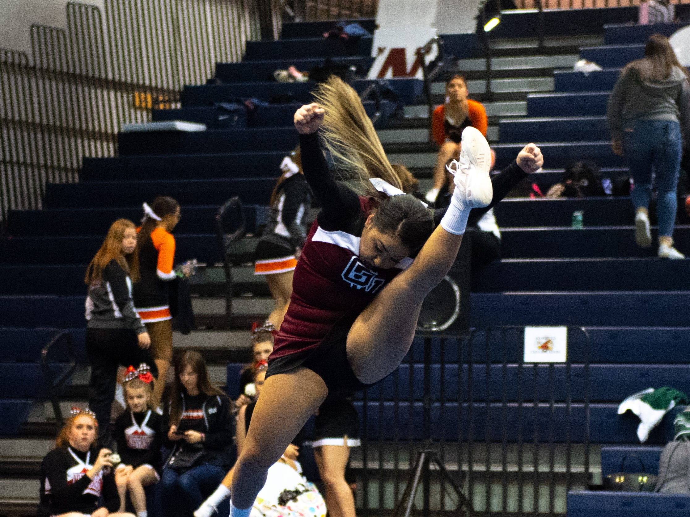 Gettysburg competes in the jump competition during the YAIAA competitive spirit championships at Dallastown High School, Saturday, December 1, 2018. Dover won the small-varsity division and Red Lion won the coed division.