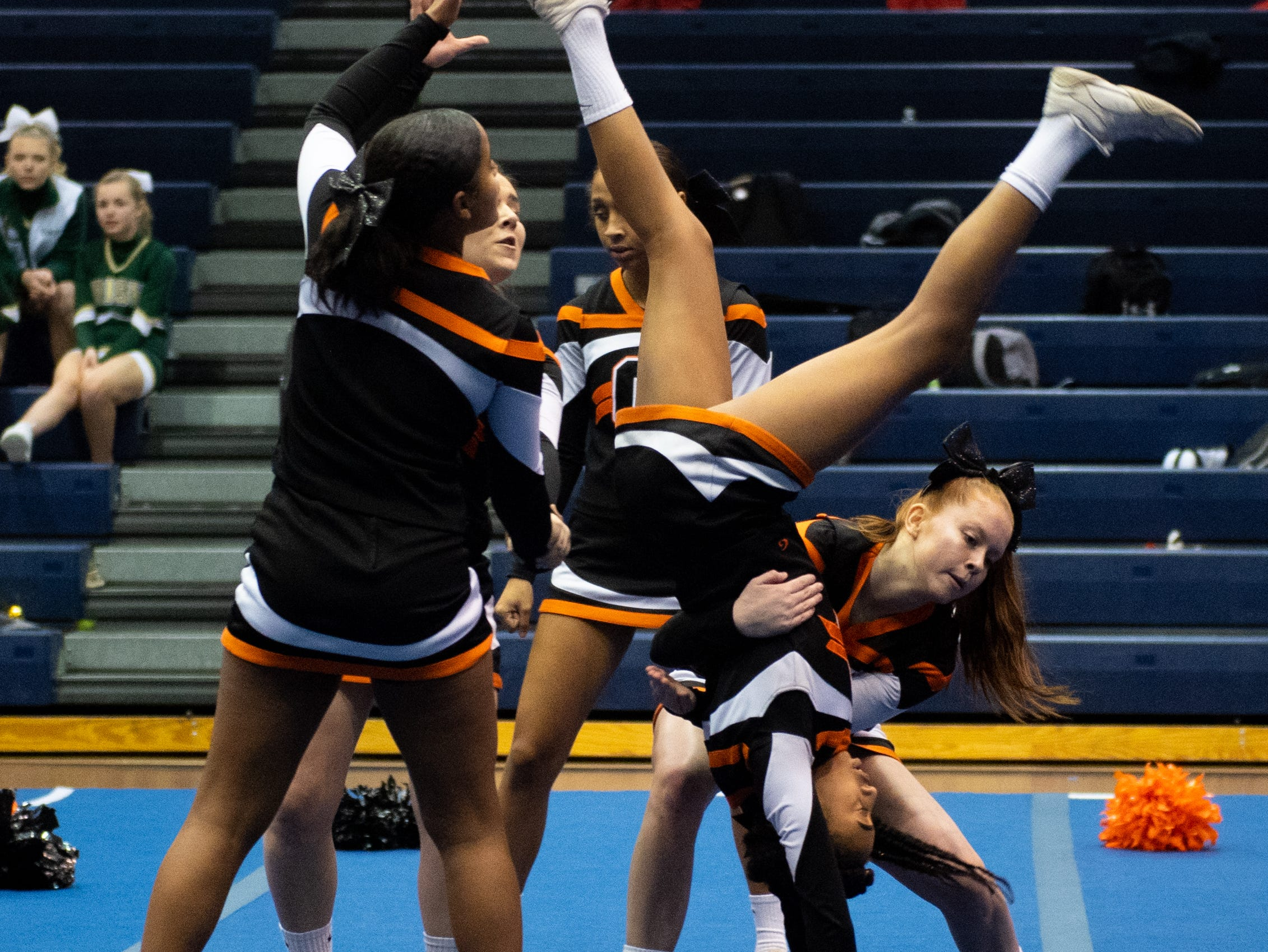 Central York performs their routine during the YAIAA competitive spirit championships at Dallastown High School, Saturday, December 1, 2018. Dover won the small-varsity division and Red Lion won the coed division.
