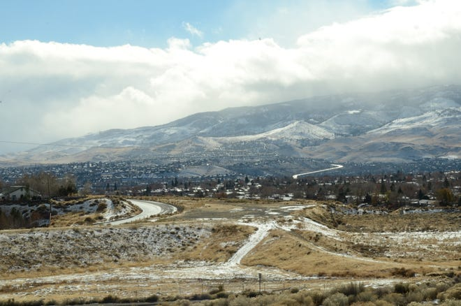 A view of snow-capped mountains in Reno. Snow covered Reno-Sparks on Dec. 1, 2018.