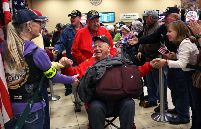 Veteran Ron Morris gets welcomed home from his Honor Flight at the Reno-Tahoe International Airport on Dec. 1, 2018.