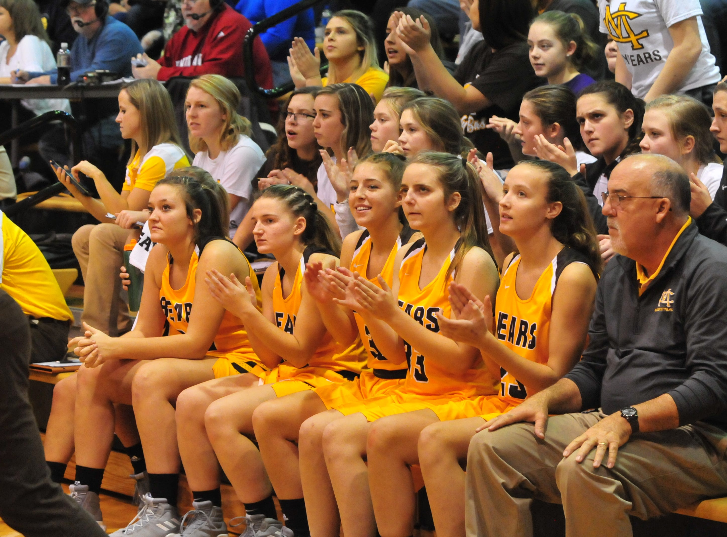 Monroe Central players on the bench during Winchester's 64-39 girls basketball win over Monroe Central Saturday, Dec. 1, 2018 at Winchester Fieldhouse.