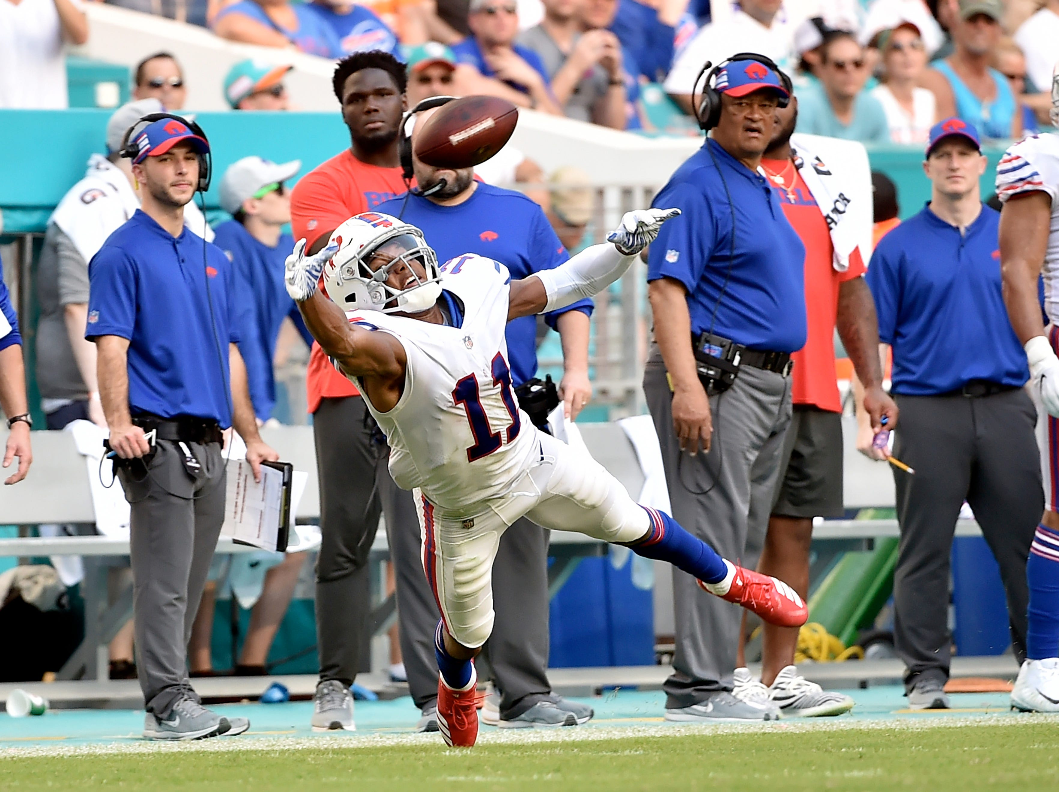 Dec 2, 2018; Miami Gardens, FL, USA; Buffalo Bills wide receiver Zay Jones (11) is unable to make a catch against the Miami Dolphins during the second half at Hard Rock Stadium. Mandatory Credit: Steve Mitchell-USA TODAY Sports