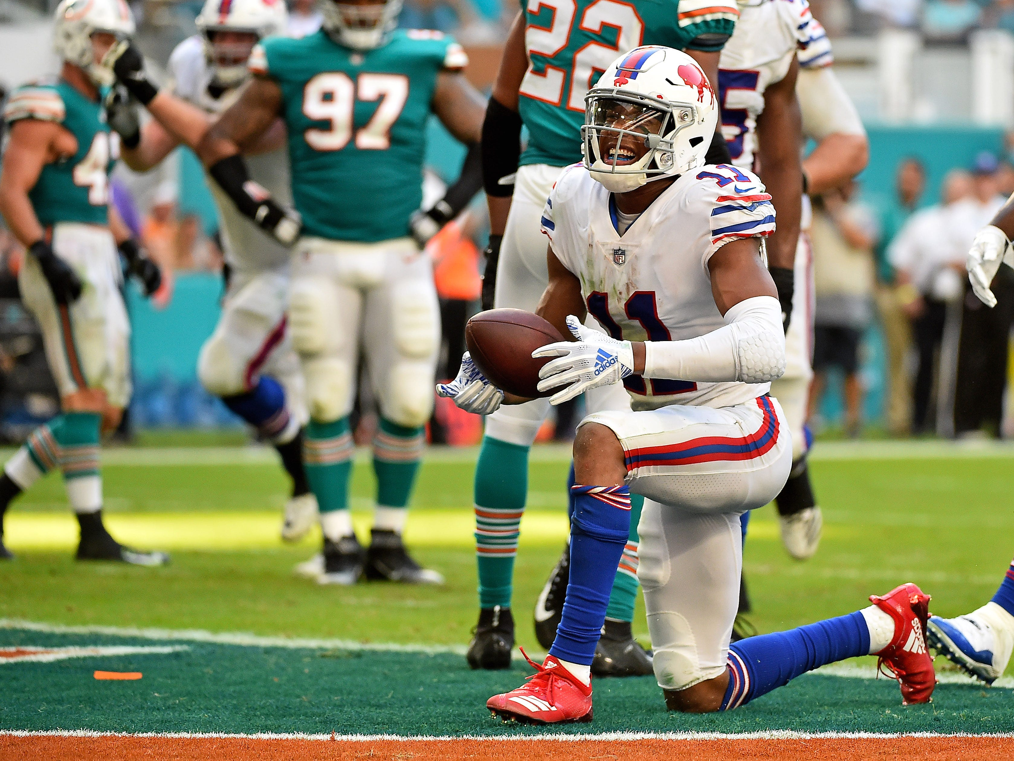 Buffalo Bills wide receiver Zay Jones  reacts after scoring a two-point conversion during the second half against the Miami Dolphins at Hard Rock Stadium on Sunday.