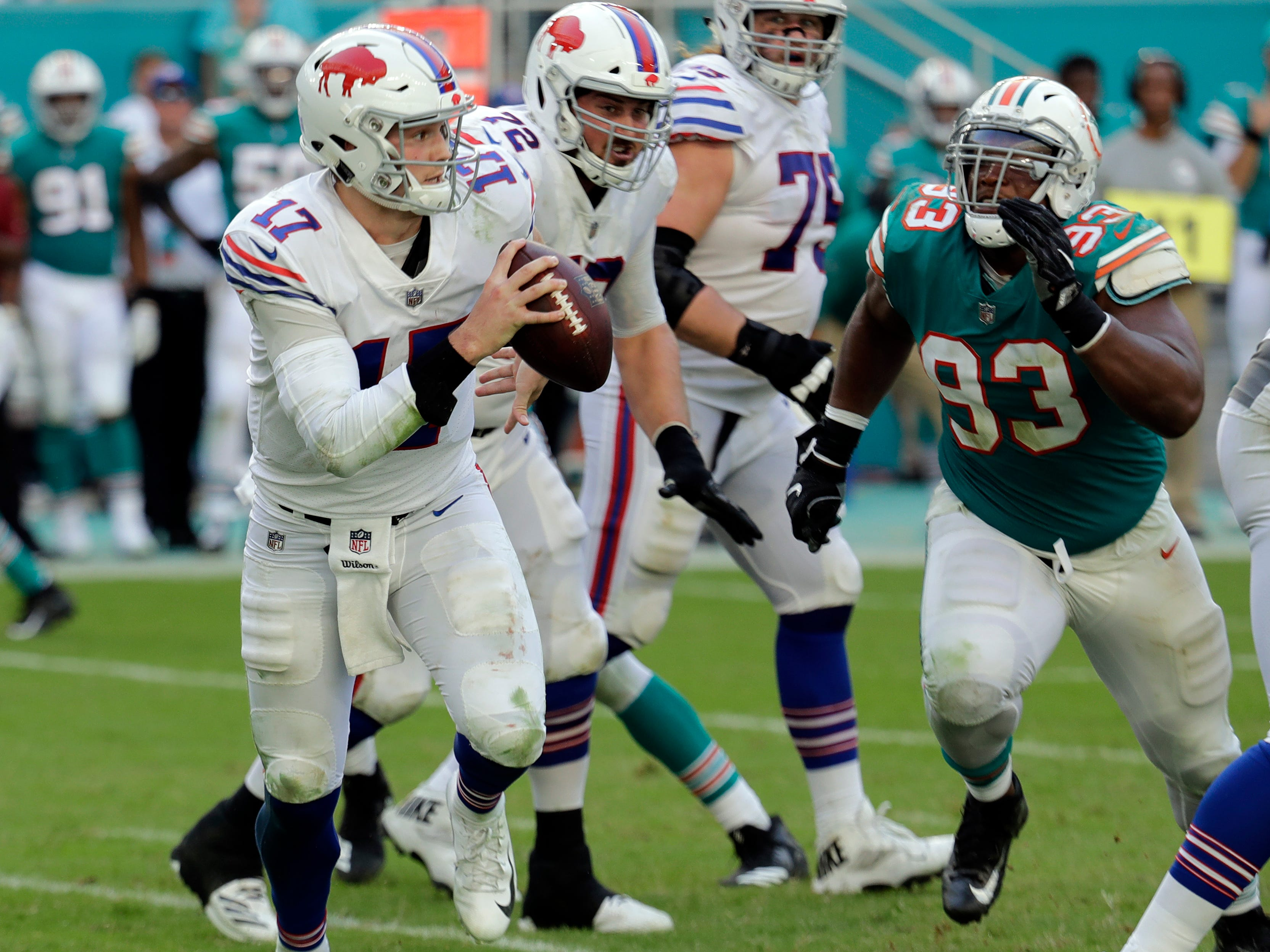 Buffalo Bills quarterback Josh Allen (17) looks to pass, during the second half of an NFL football game against the Miami Dolphins, Sunday, Dec. 2, 2018, in Miami Gardens, Fla. (AP Photo/Lynne Sladky)