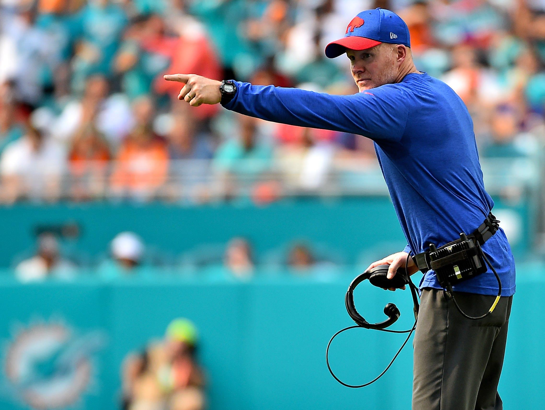 Dec 2, 2018; Miami Gardens, FL, USA; Buffalo Bills head coach Sean McDermott gestures during the first half against the Miami Dolphins at Hard Rock Stadium. Mandatory Credit: Jasen Vinlove-USA TODAY Sports