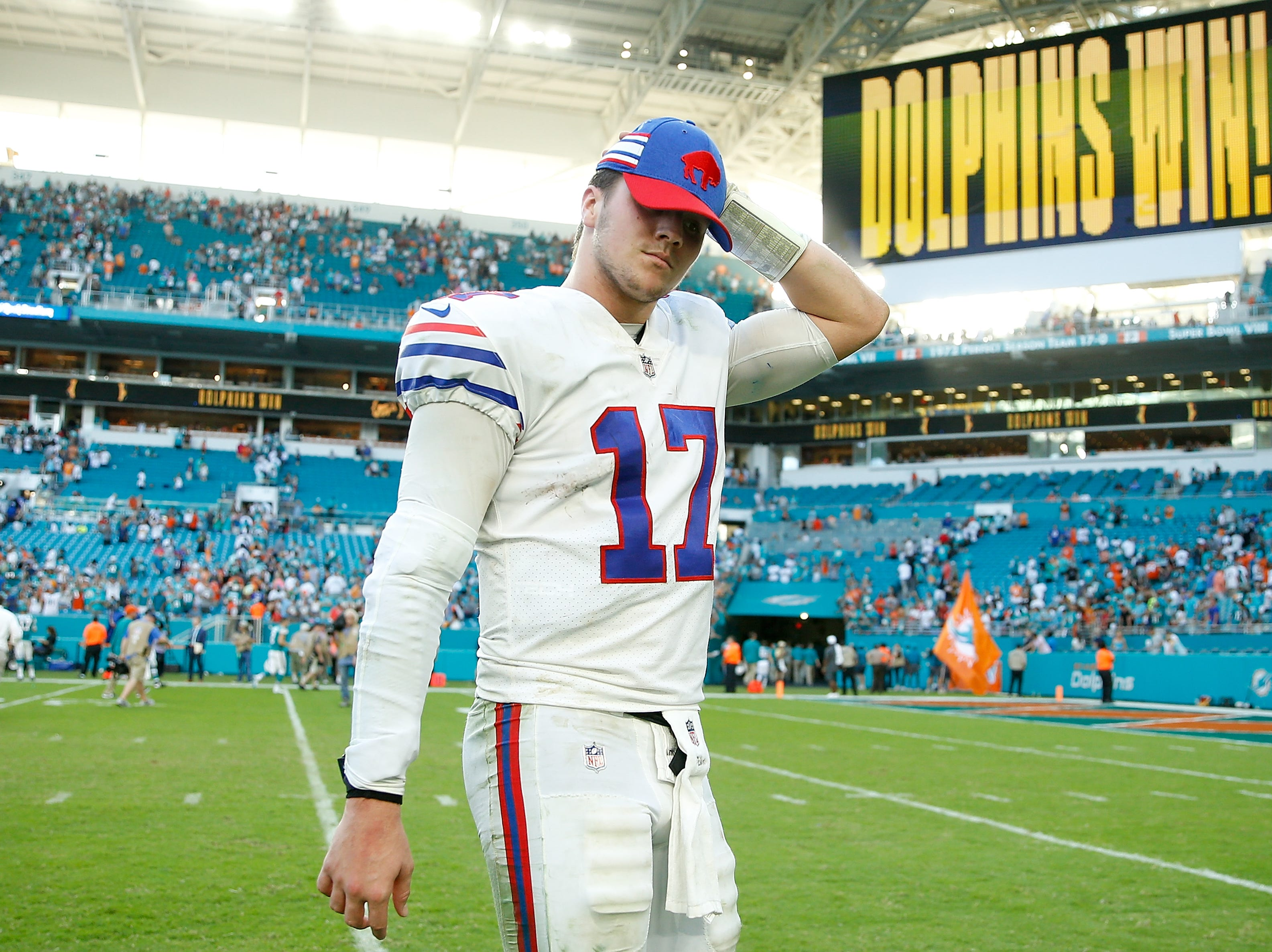 MIAMI, FL - DECEMBER 02:  Josh Allen #17 of the Buffalo Bills reacts after losing to the Miami Dolphins 21-17 at Hard Rock Stadium on December 2, 2018 in Miami, Florida.  (Photo by Michael Reaves/Getty Images)