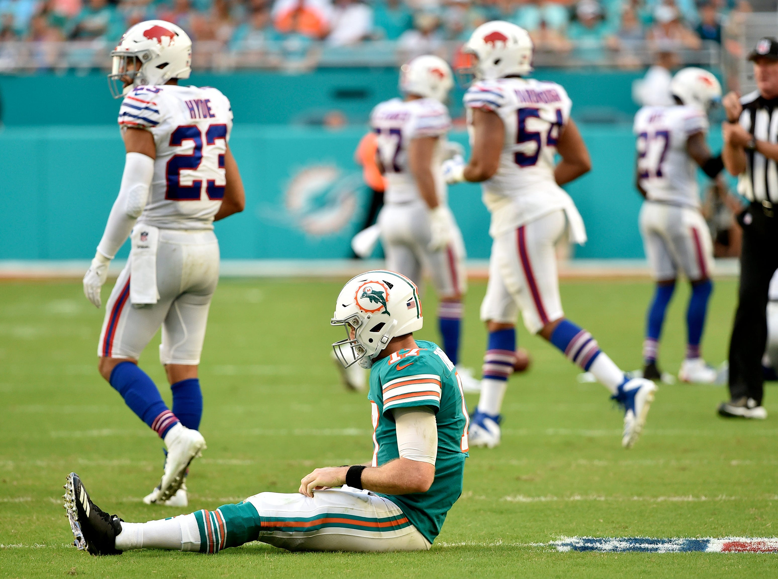 Dec 2, 2018; Miami Gardens, FL, USA; Miami Dolphins quarterback Ryan Tannehill (17) reacts against the Buffalo Bills during the second half at Hard Rock Stadium. Mandatory Credit: Steve Mitchell-USA TODAY Sports
