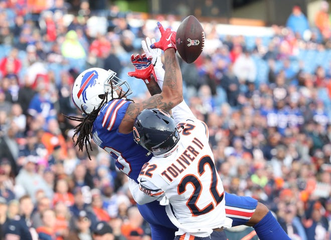 BUFFALO, NY - NOVEMBER 04: Kelvin Benjamin #13 of the Buffalo Bills drops a pass in the end zone in the fourth quarter during NFL game action as he is hit by Kevin Toliver II #22 of the Chicago Bears at New Era Field on November 4, 2018 in Buffalo, New York. (Photo by Tom Szczerbowski/Getty Images)