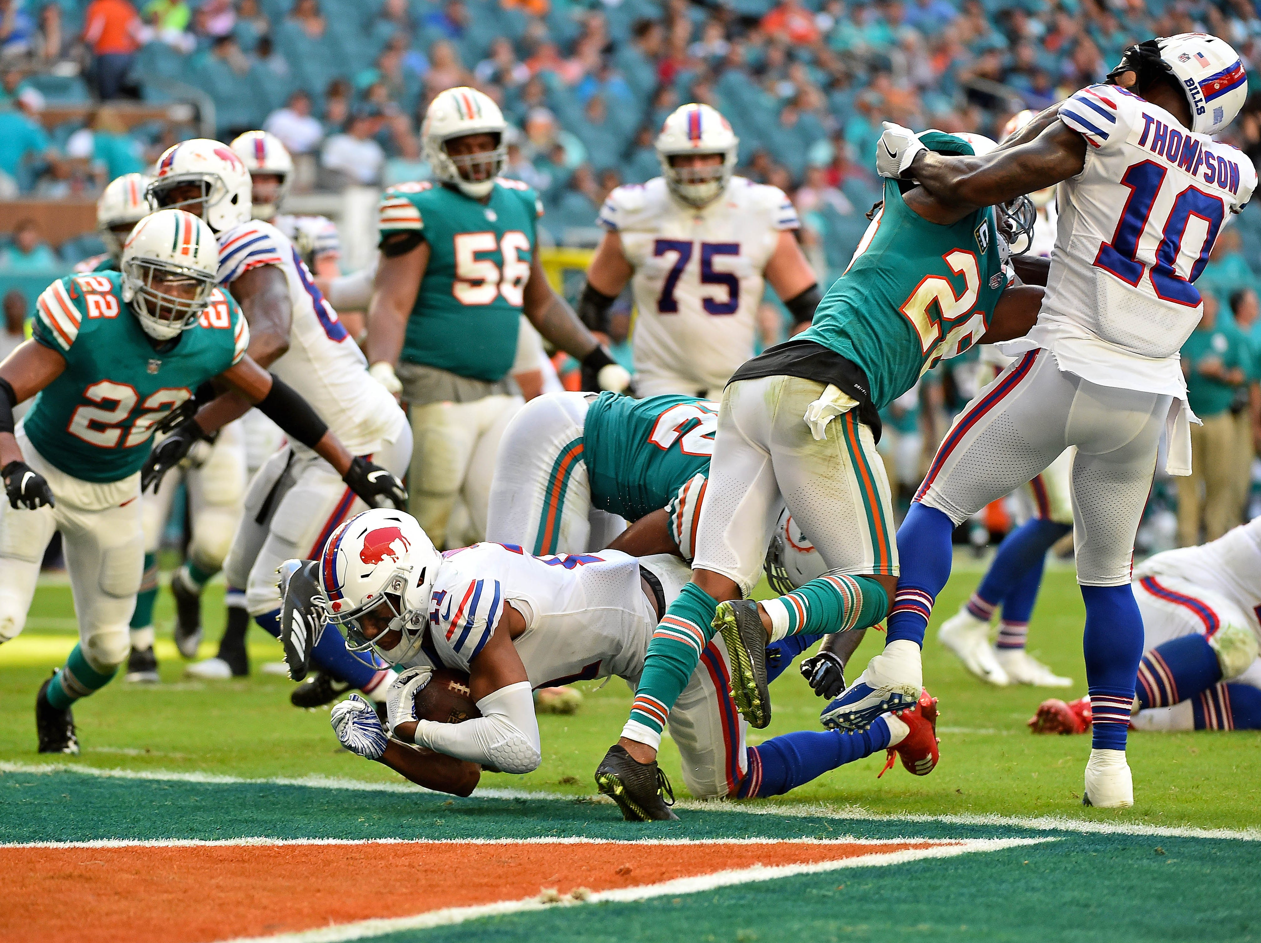 Dec 2, 2018; Miami Gardens, FL, USA; Buffalo Bills wide receiver Zay Jones (11) dives in for a two-point conversion during the second half against the Miami Dolphins at Hard Rock Stadium. Mandatory Credit: Jasen Vinlove-USA TODAY Sports