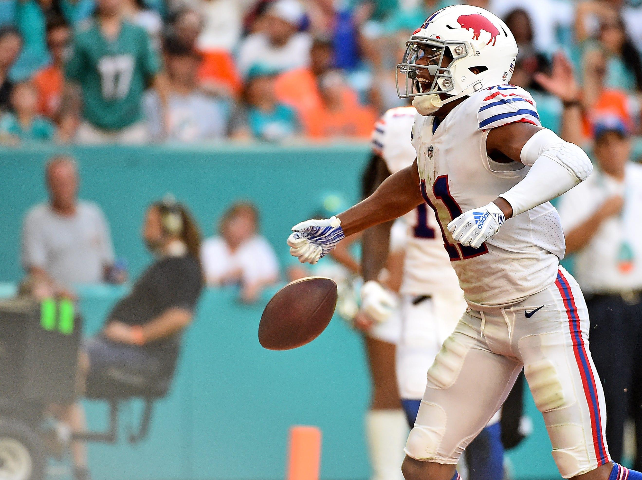 Dec 2, 2018; Miami Gardens, FL, USA; Buffalo Bills wide receiver Zay Jones (11) celebrates his touchdown against the Miami Dolphins during the second half at Hard Rock Stadium. Mandatory Credit: Jasen Vinlove-USA TODAY Sports