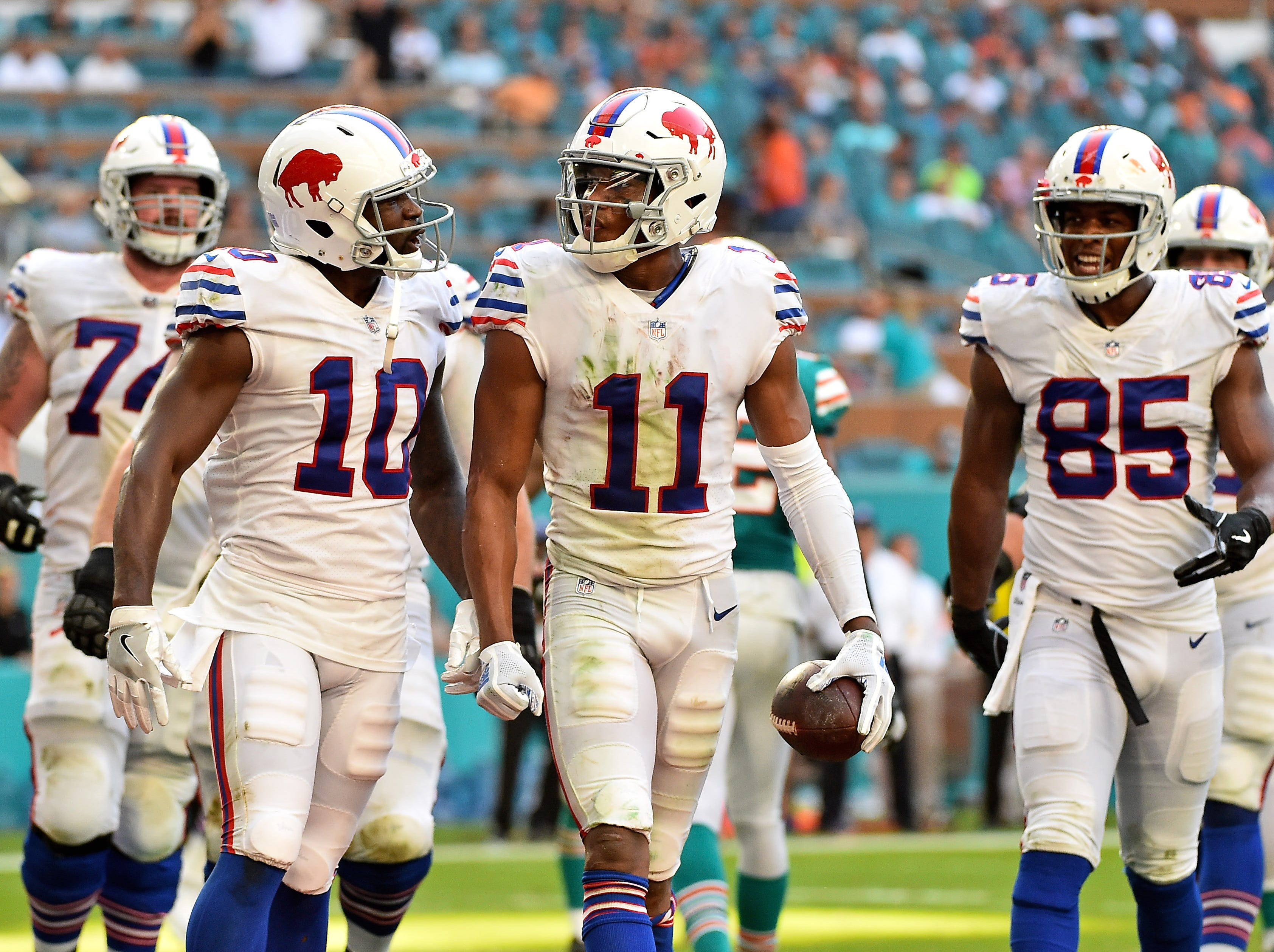 Dec 2, 2018; Miami Gardens, FL, USA; Buffalo Bills wide receiver Zay Jones (11) celebrates with teammates after scoring a two-point conversion during the second half against the Miami Dolphins at Hard Rock Stadium. Mandatory Credit: Jasen Vinlove-USA TODAY Sports