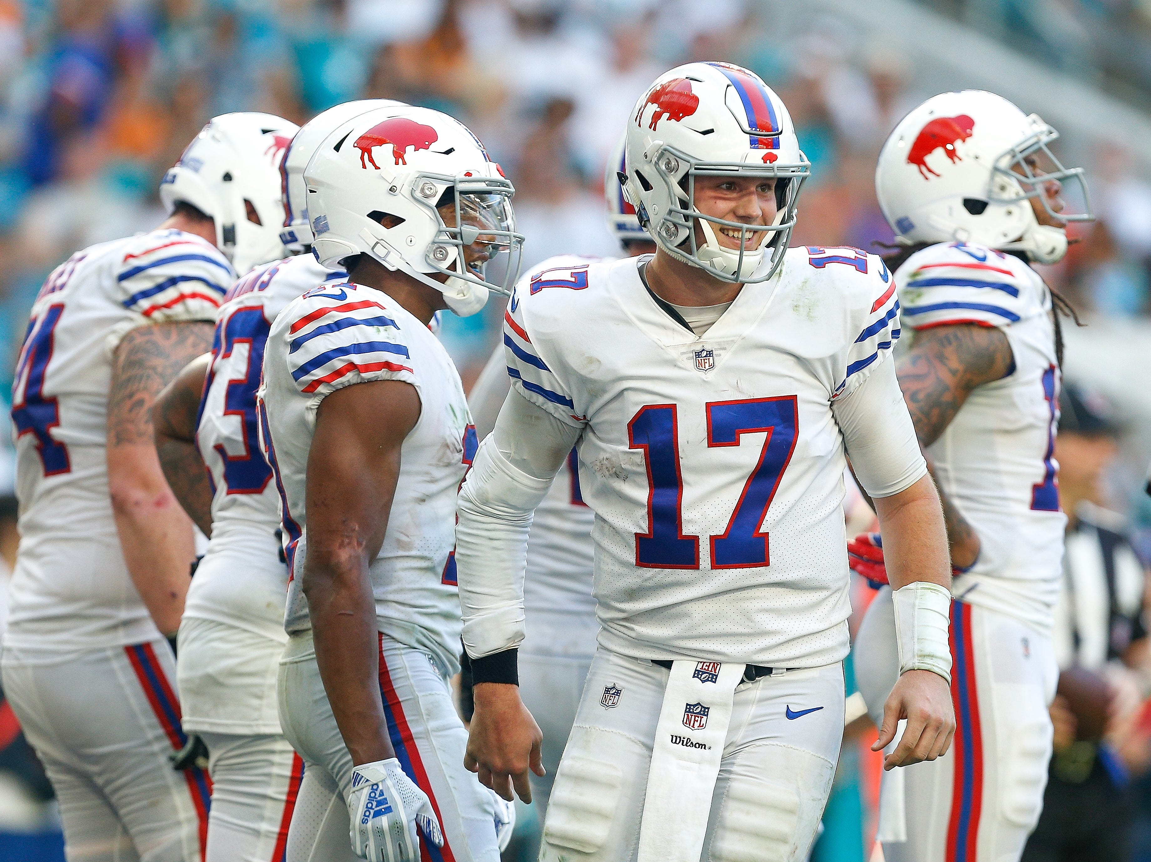 MIAMI, FL - DECEMBER 02:  Josh Allen #17 of the Buffalo Bills celebrates with Zay Jones #11 after a touchdown against the Miami Dolphins during the second half at Hard Rock Stadium on December 2, 2018 in Miami, Florida.  (Photo by Michael Reaves/Getty Images)