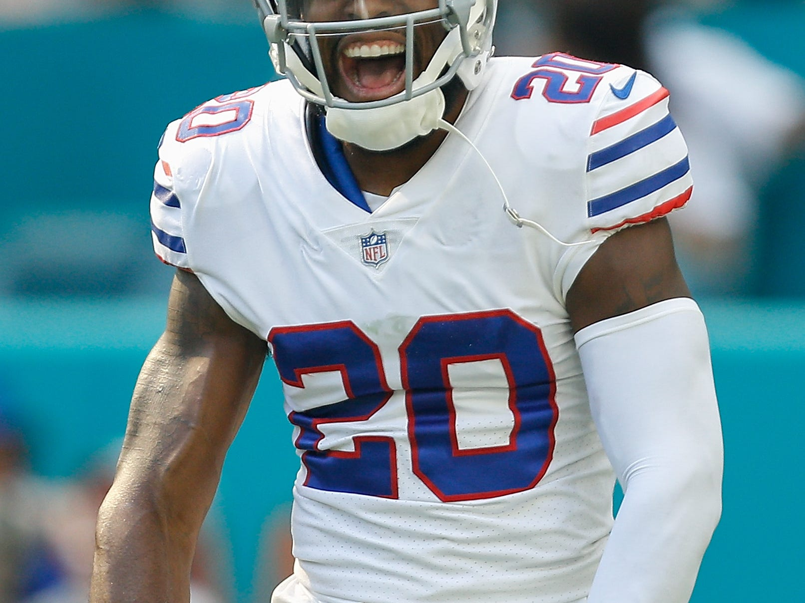 MIAMI, FL - DECEMBER 02: Rafael Bush #20 of the Buffalo Bills reacting after a play during the first half against the Miami Dolphins at Hard Rock Stadium on December 2, 2018 in Miami, Florida.  (Photo by Michael Reaves/Getty Images)