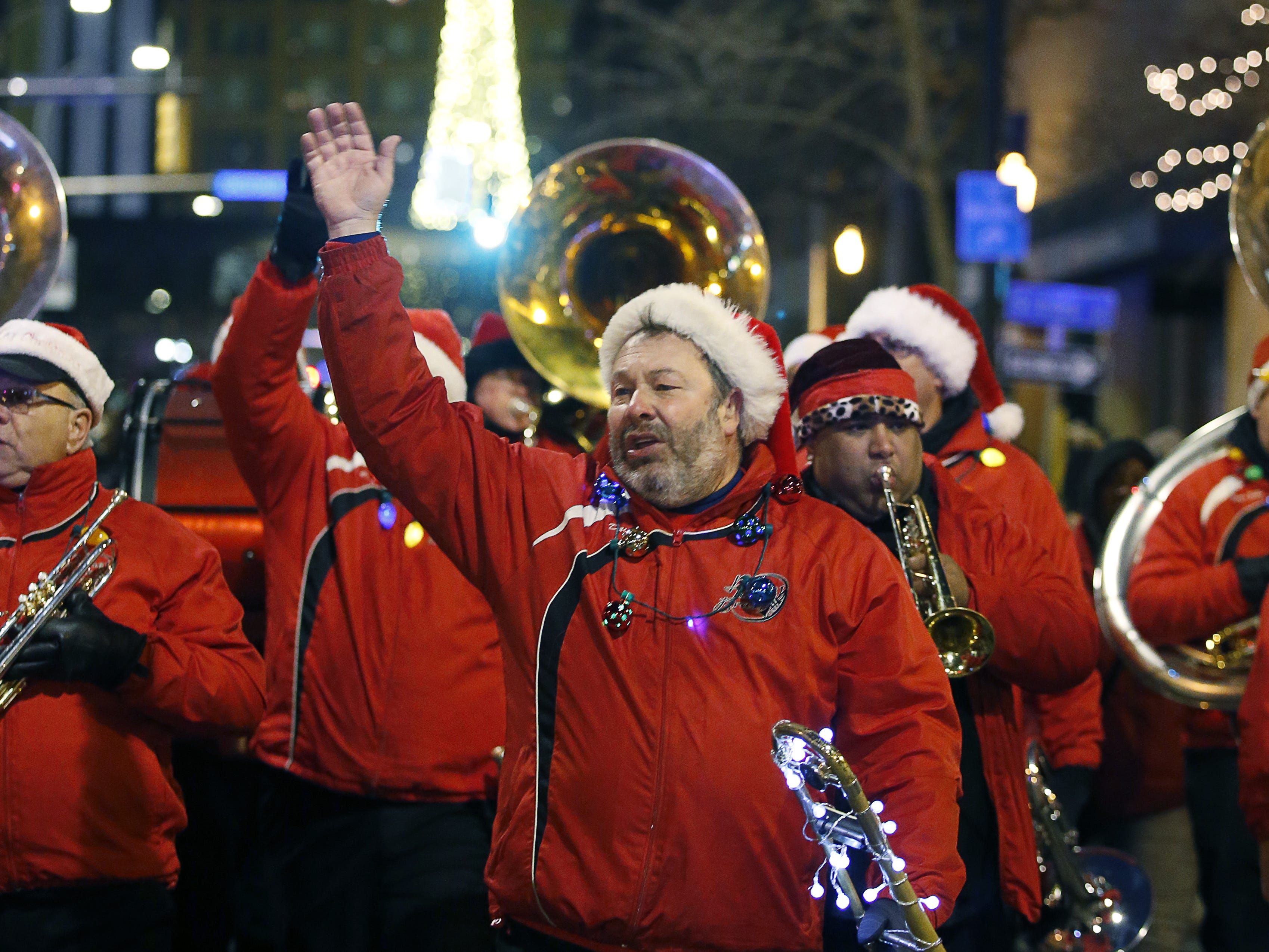 Prime Time Brass during the ROC Holiday Village parade.