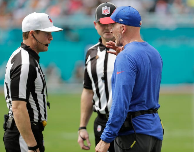 Buffalo Bills head coach Sean McDermott talks to the referees, during the first half of an NFL football game against the Miami Dolphins, Sunday, Dec. 2, 2018, in Miami Gardens, Fla. (AP Photo/Lynne Sladky)