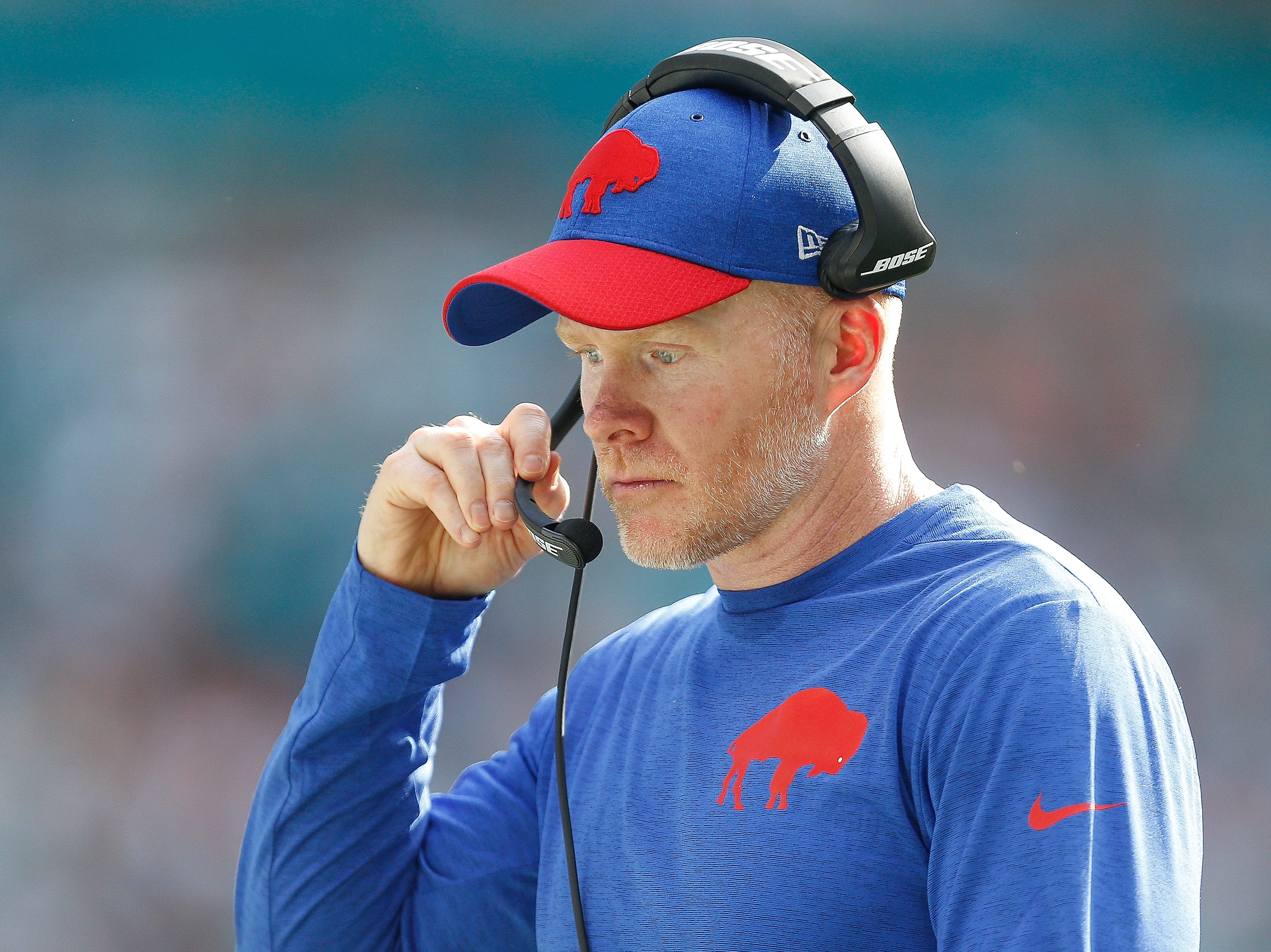 MIAMI, FL - DECEMBER 02:  Head coach Sean McDermott of the Buffalo Bills looks on against the Miami Dolphins during the first half at Hard Rock Stadium on December 2, 2018 in Miami, Florida.  (Photo by Michael Reaves/Getty Images)
