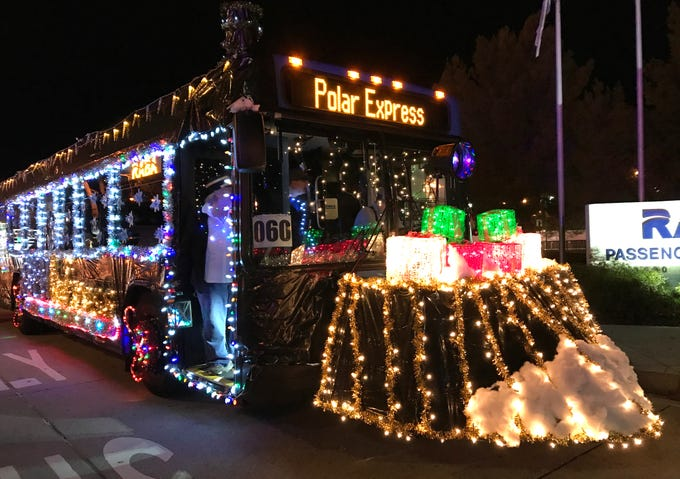 RABA's Polar Express bus in the 2018 Lighted Christmas Parade in downtown Redding.