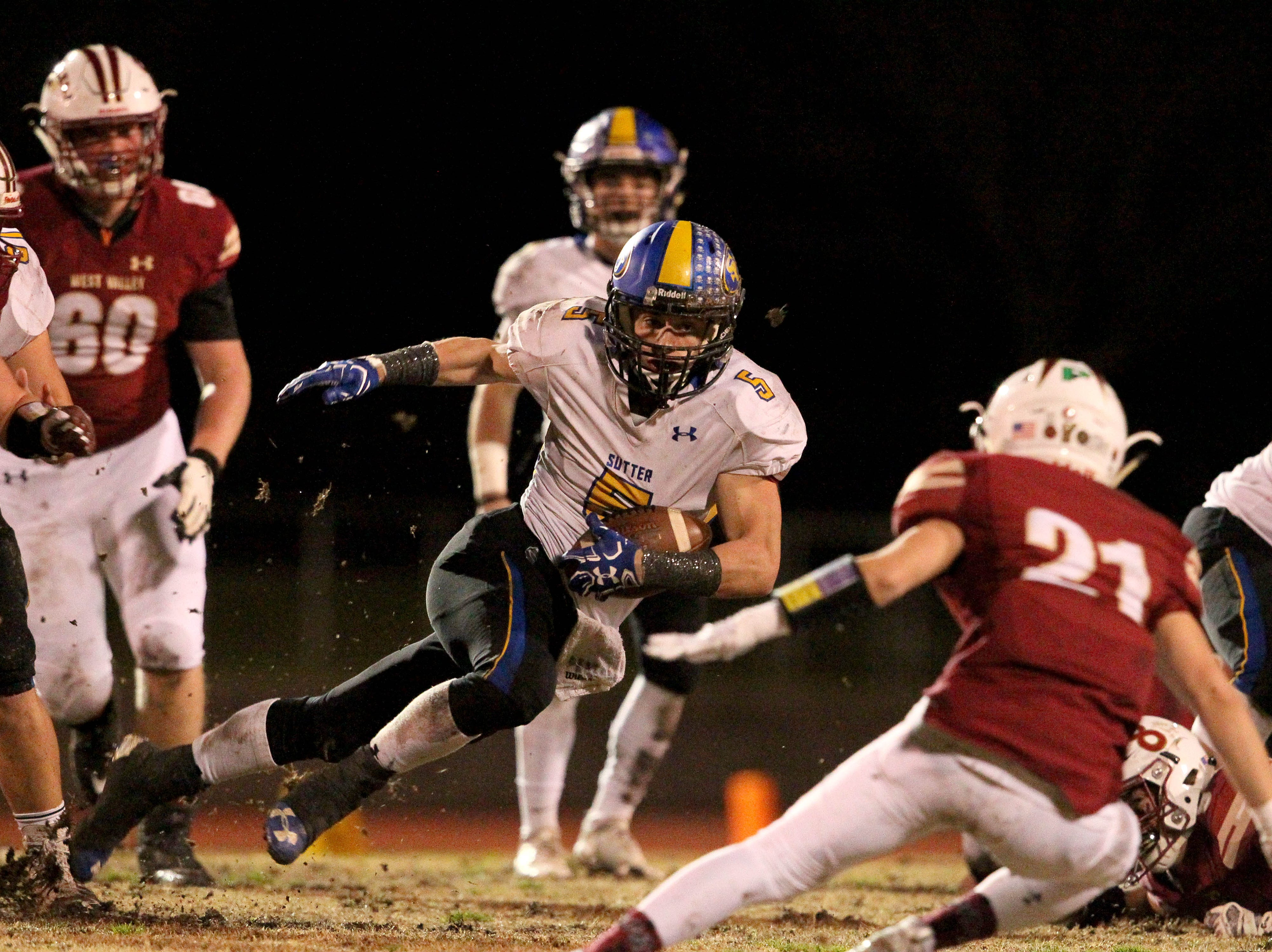 Sutter's Colton Dillabo (5) looks for open to run for a first down in the 2nd quarter against West Valley.