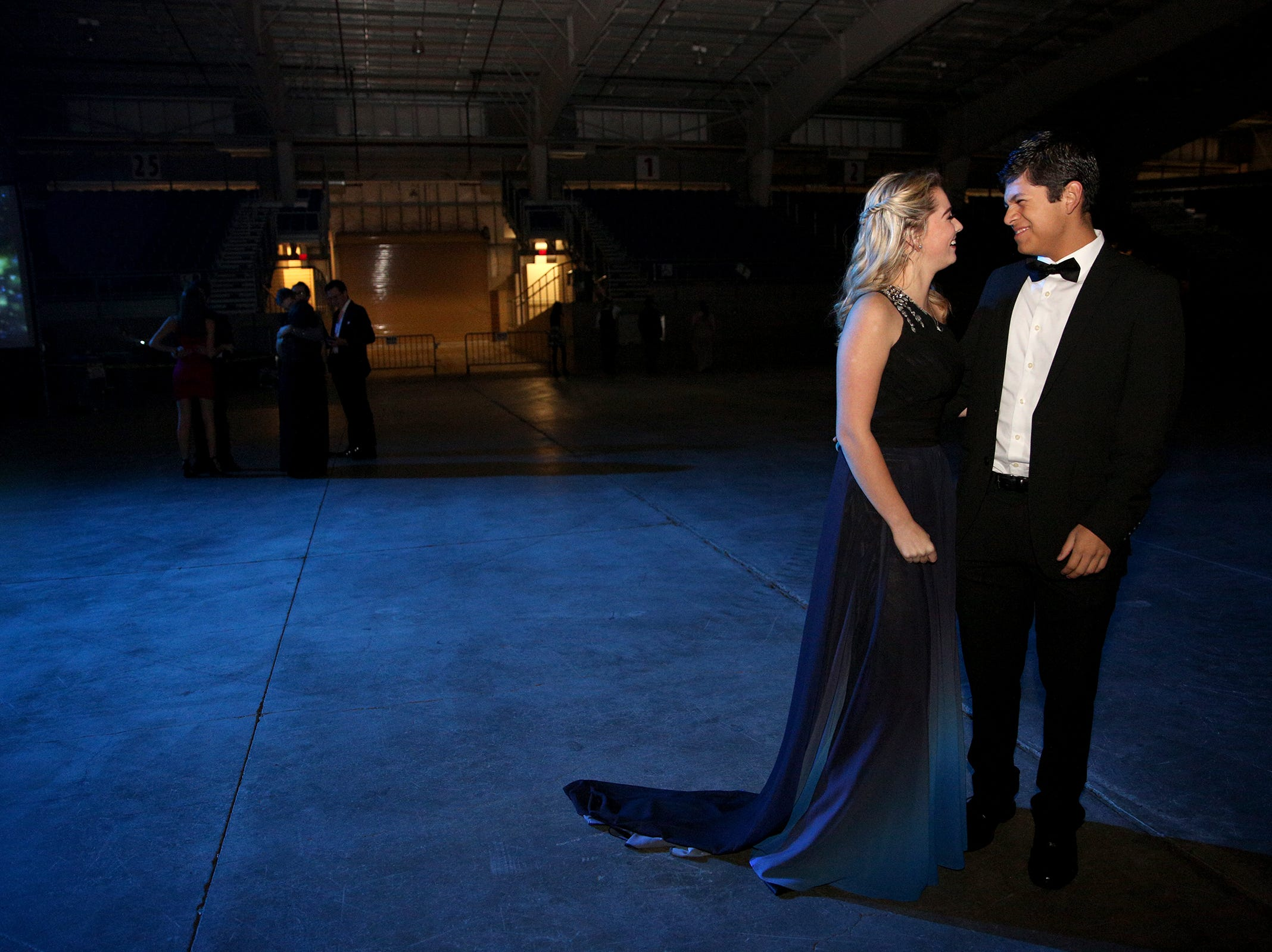 West Salem High School sophomores Jaden Lewis and Jonathan Duarte before the SnoBall at the Oregon State Fairgrounds Pavilion in Salem on Saturday, Dec. 1, 2018. The annual dance is now in its 65th year.