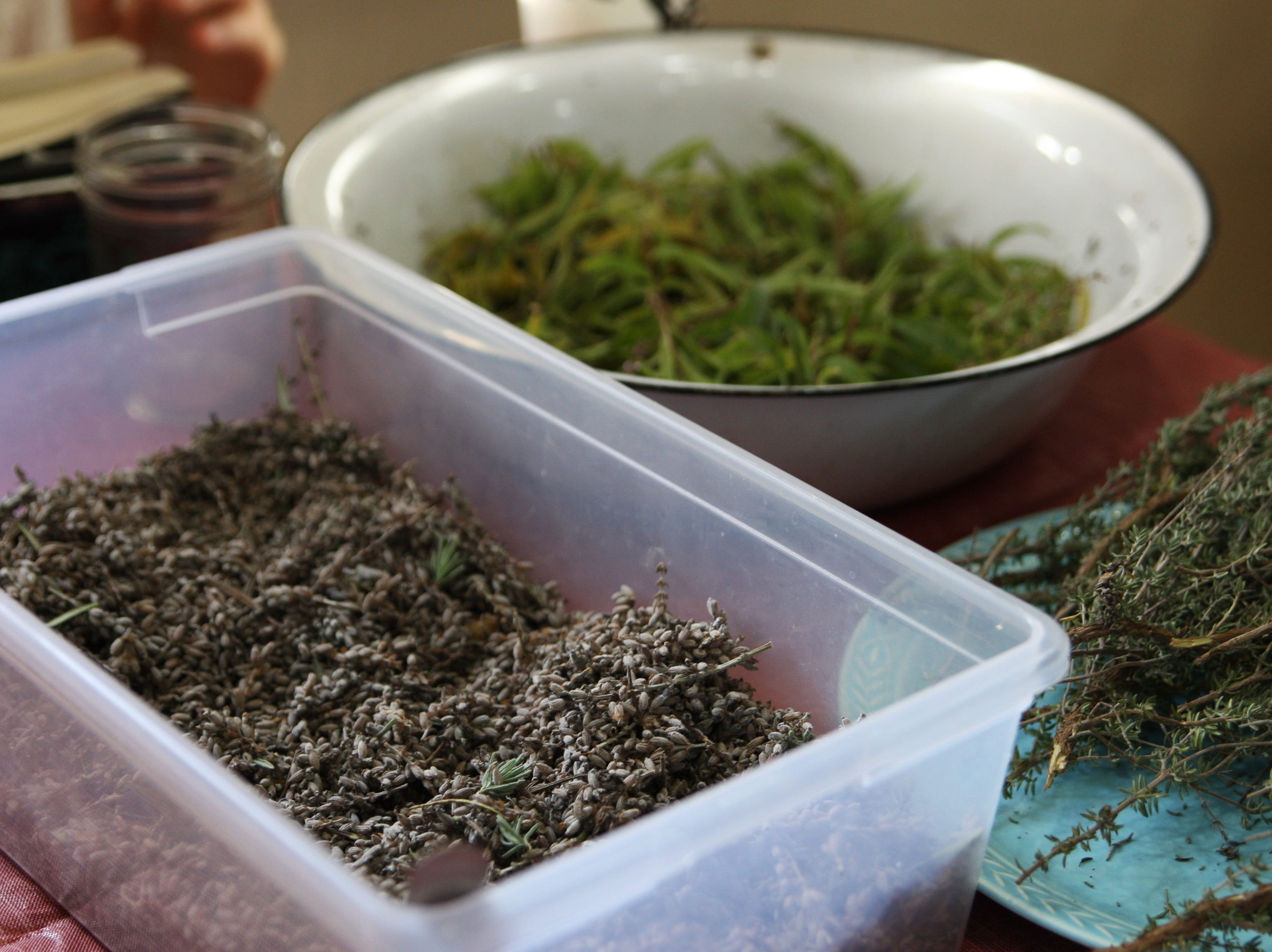 Visitors could choose between a variety of herbs, such as lavender, to make sachets in the arts and crafts corner.
