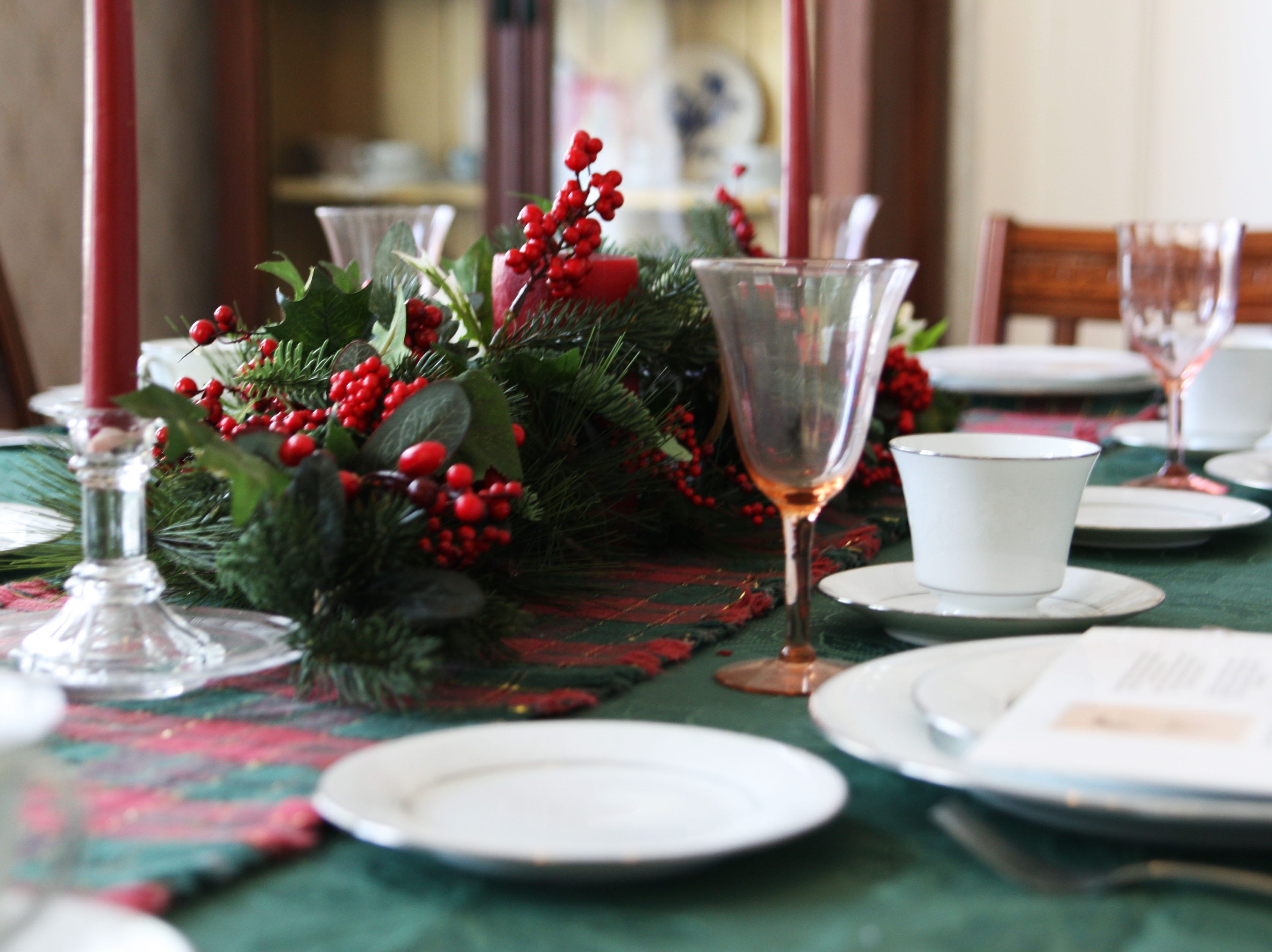 The table is set for Christmas in the historic Harvey house as though it would have been set when the first mayor's family sat down to the holiday dinner.