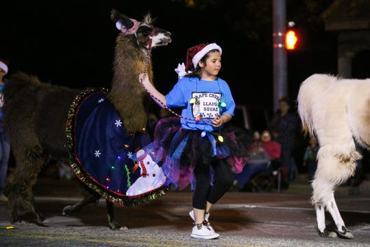 Grape Creek Llama Squad make their way down Chadbourne Street for the Concho Christmas Celebration Parade Saturday Dec. 1, 2018, in downtown San Angelo.