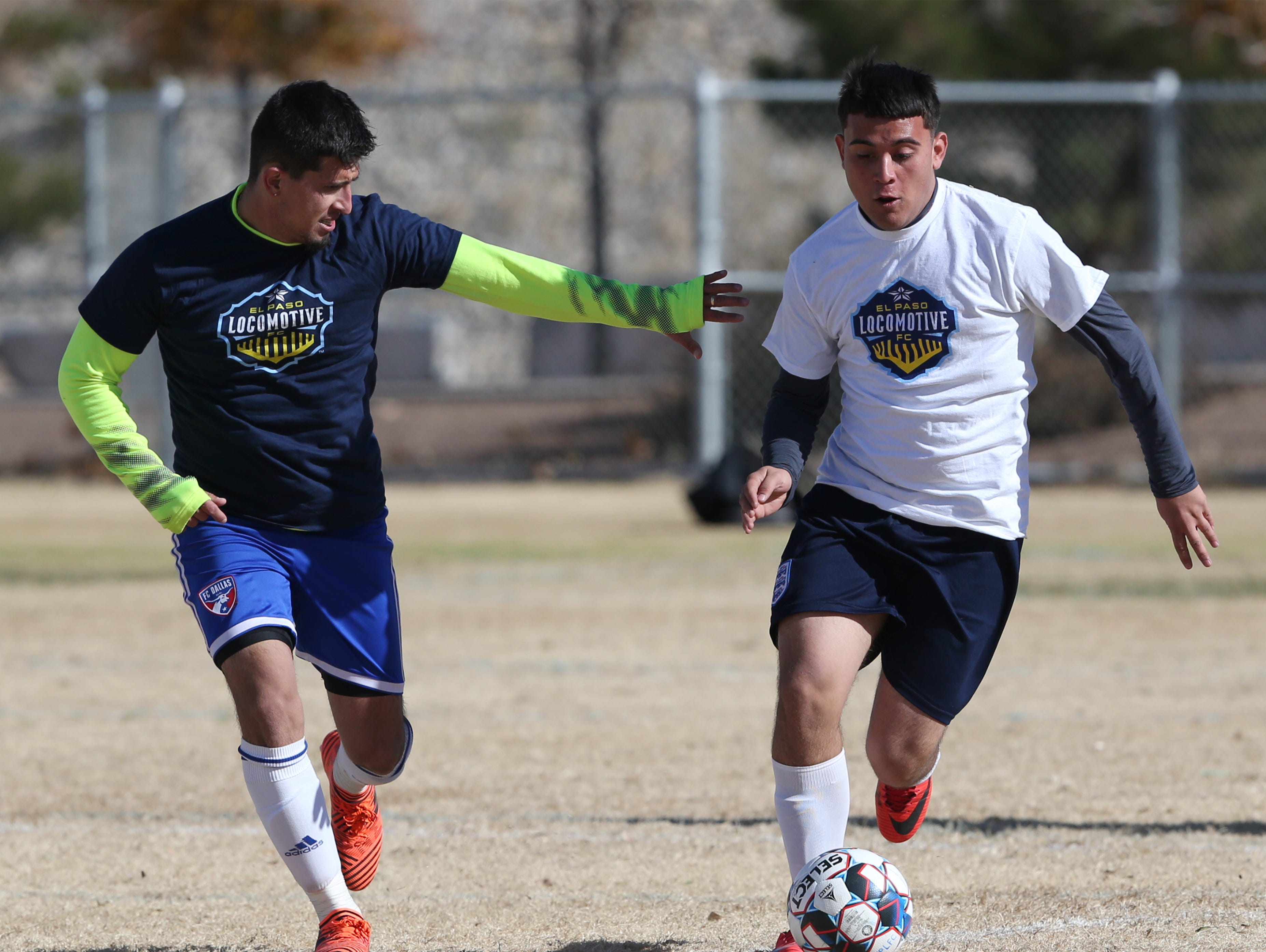 Soccer players strut their stuff on the field during a weekend tryout hosted by the El Paso Locomotive FC at Blackie Chesher Park in El Paso's Lower Valley.
