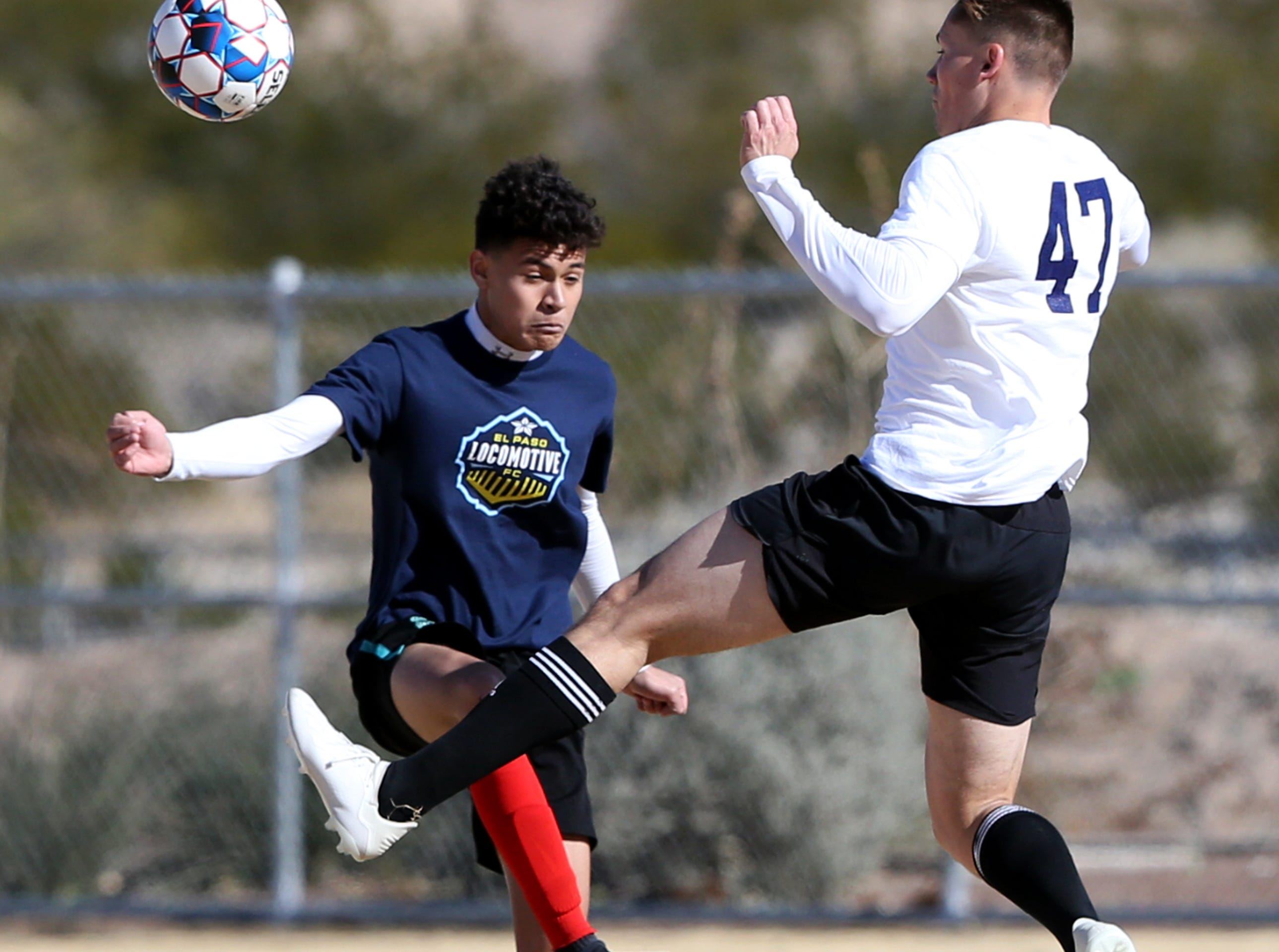 """Soccer players strut their stuff on the field during a weekend tryout hosted by the El Paso Locomotive FC at Blackie Chesher Park in El Paso's Lower Valley. Locomotive head coach Mark Lowry said 100 players turned out during the tryout  """"What were doing right now is building the reputation, were getting in connection and building a relation with the community. Thats what these events are about.'"""