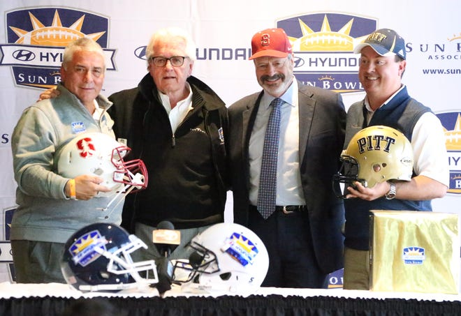 The Sun Bowl Association officially announce that Stanford Cardinal and Pittsburgh Panthers will play in the 85th Hyundai Sun Bowl Game on Dec. 31. Officials are, from left, Sun Bowl executive director Bernie Olivas, football chairman John Folmer, Oscar Leeser of title sponsor Hyundai Motor Co. and Scott Mann, board president for the Sun Bowl Association.