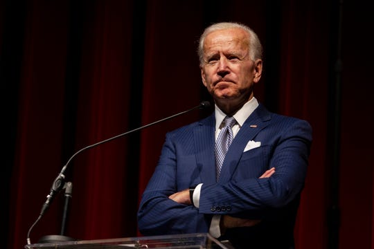 Keynote speaker former Vice President Joe Biden pauses during his speech during the UNLV William S. Boyd School of Law 20th Anniversary Gala at the Bellagio Casino in Las Vegas, Saturday, Dec. 1, 2018. The annual event serves as the school's principal scholarship fundraiser.